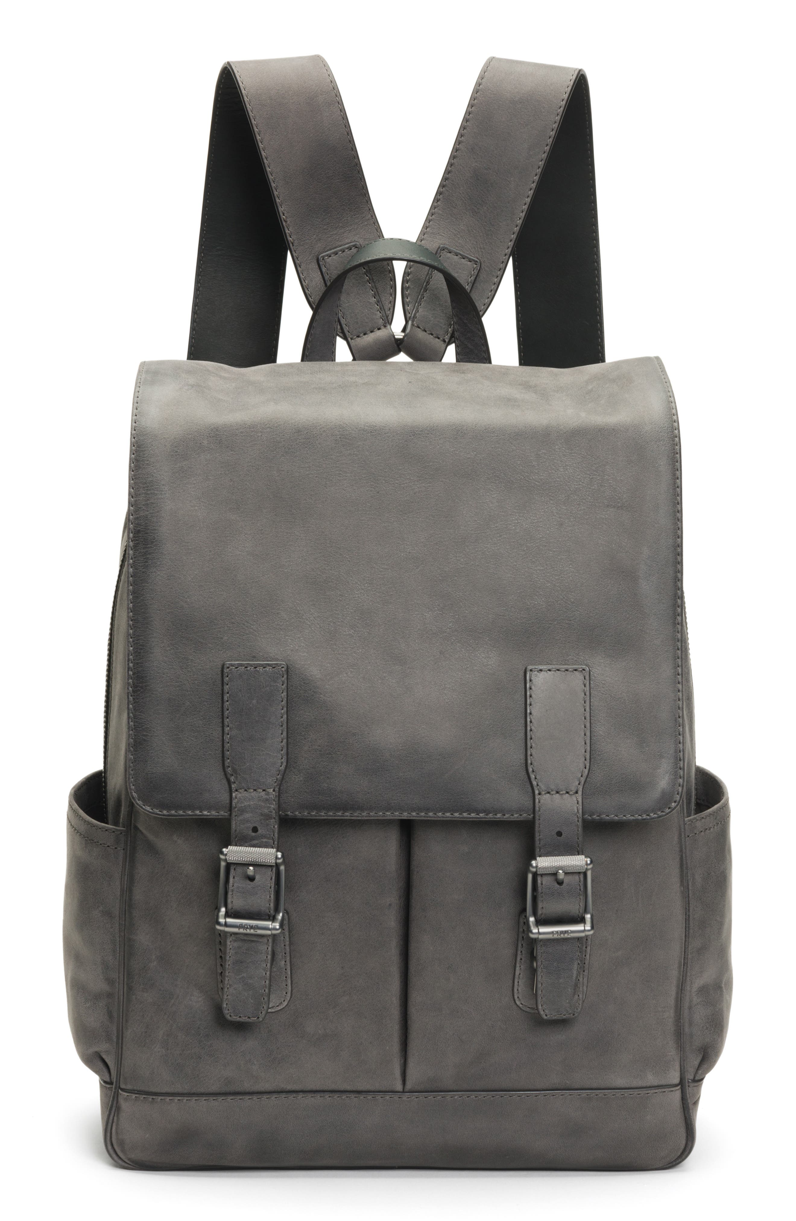 Oliver Leather Backpack,                         Main,                         color, SLATE