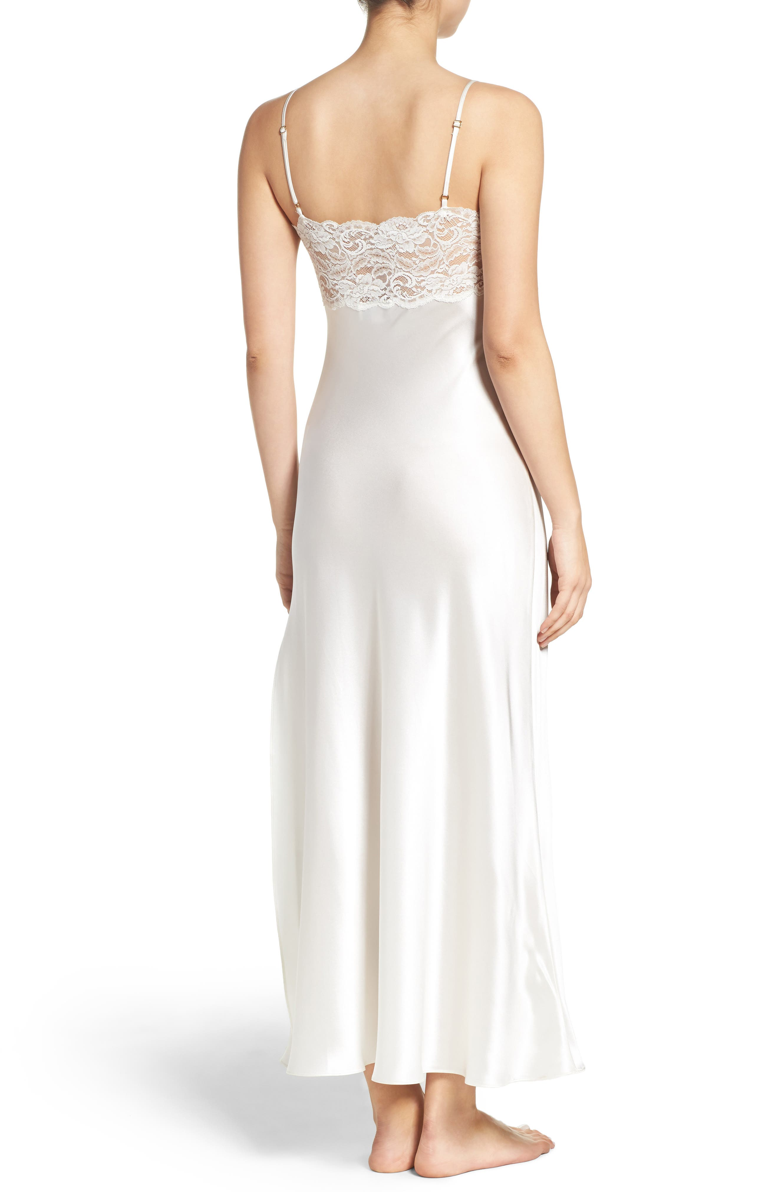 Lace & Silk Nightgown,                             Alternate thumbnail 4, color,