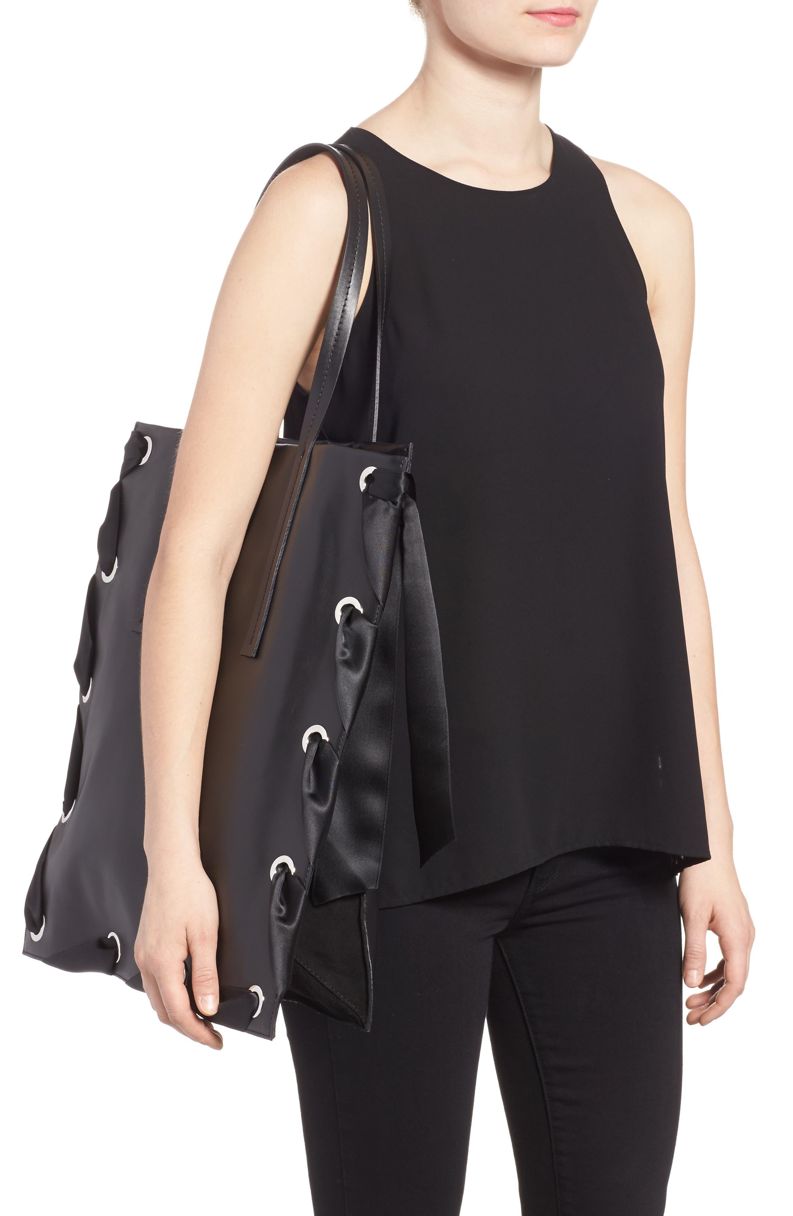 Premium Leather Grace Tote Bag,                             Alternate thumbnail 2, color,                             001