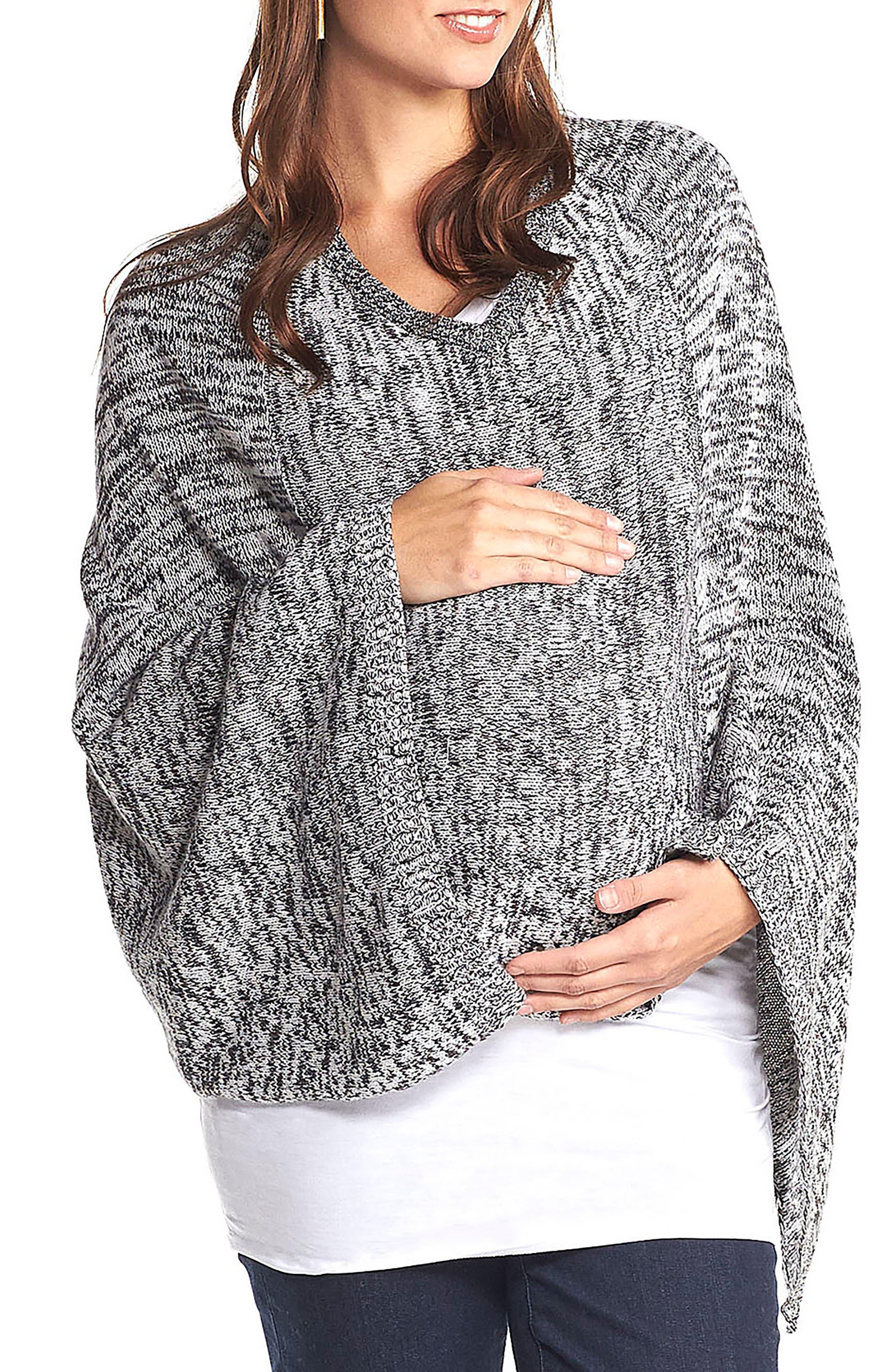 'Alana' Wool Maternity Poncho,                             Main thumbnail 1, color,                             BLACK/WHITE