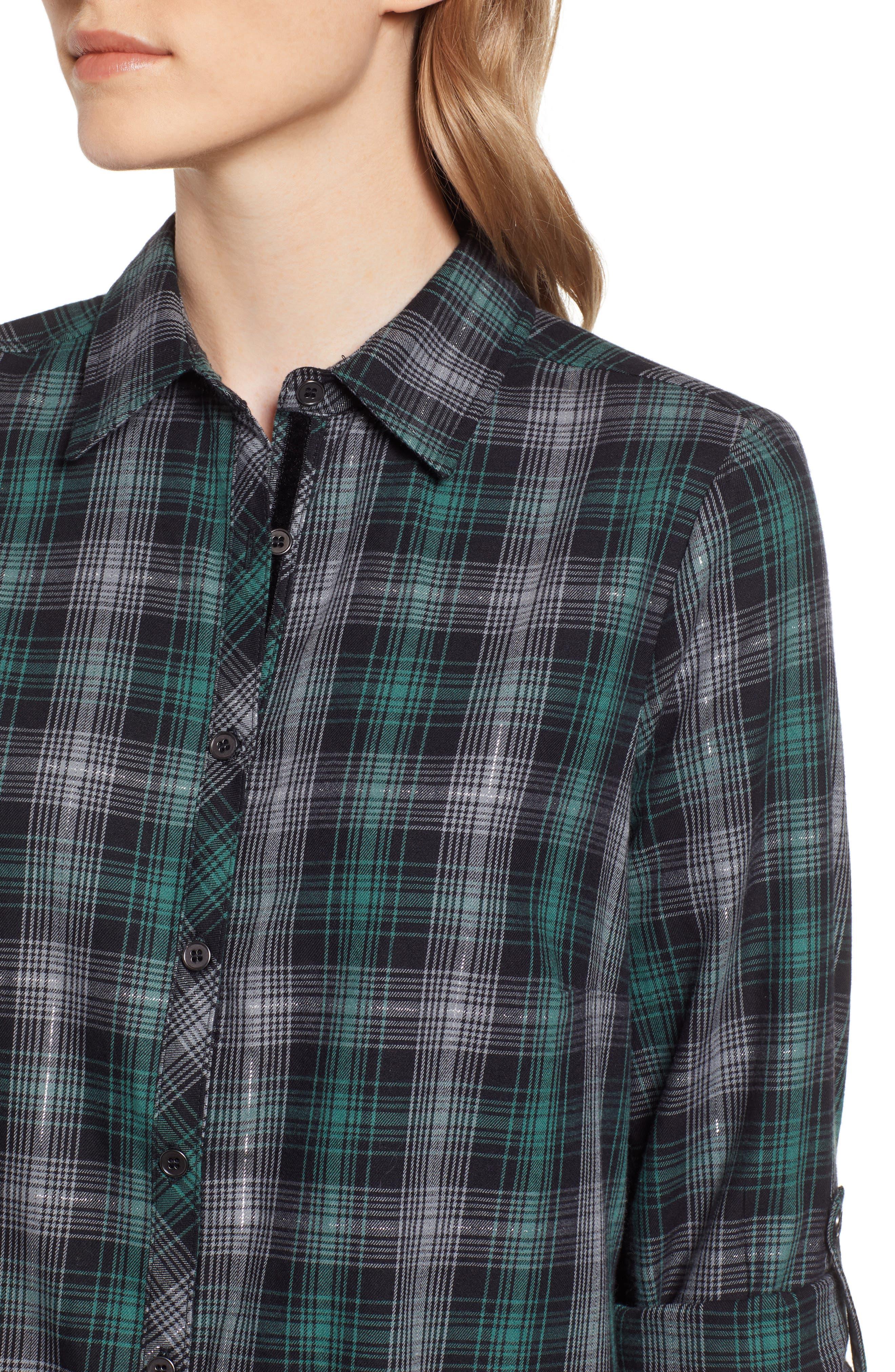 Plaid & Embroidered Velvet Shirt,                             Alternate thumbnail 4, color,                             GREEN/ GREY