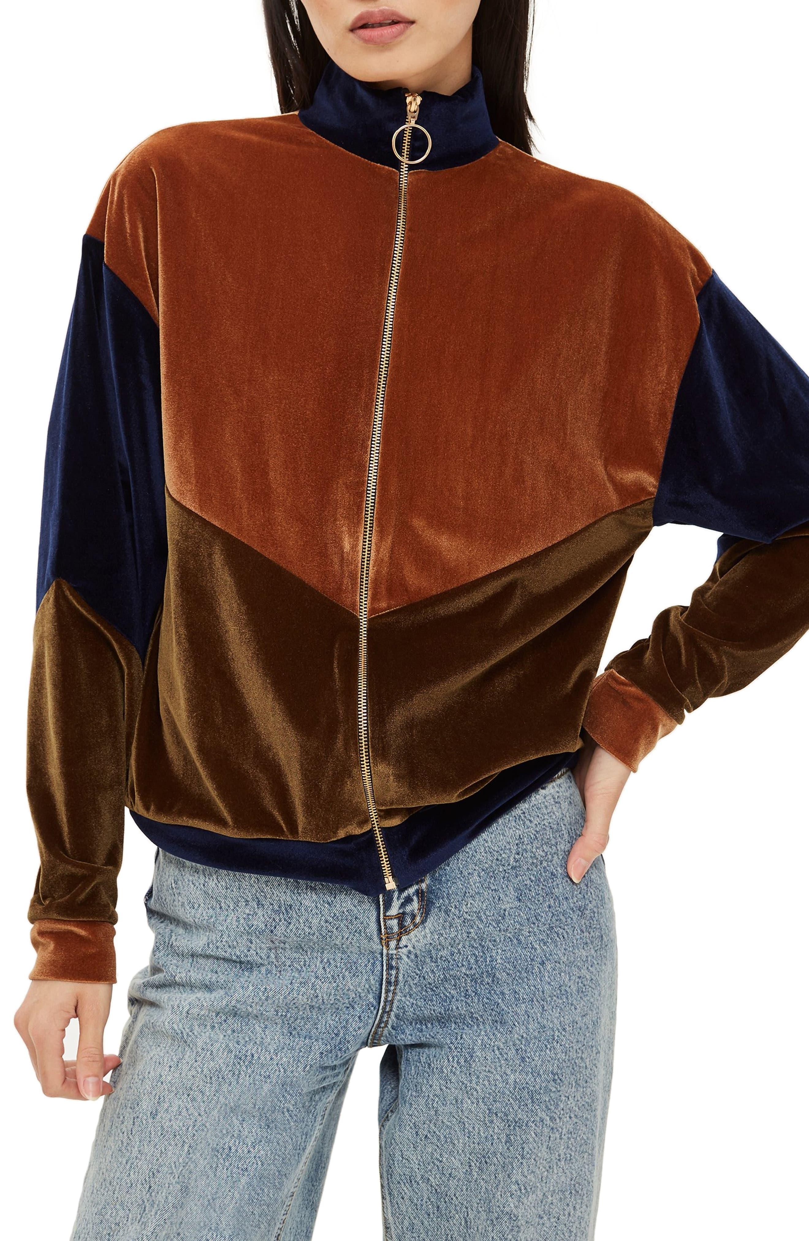 Topshop Velour Panel Zip Sweatshirt