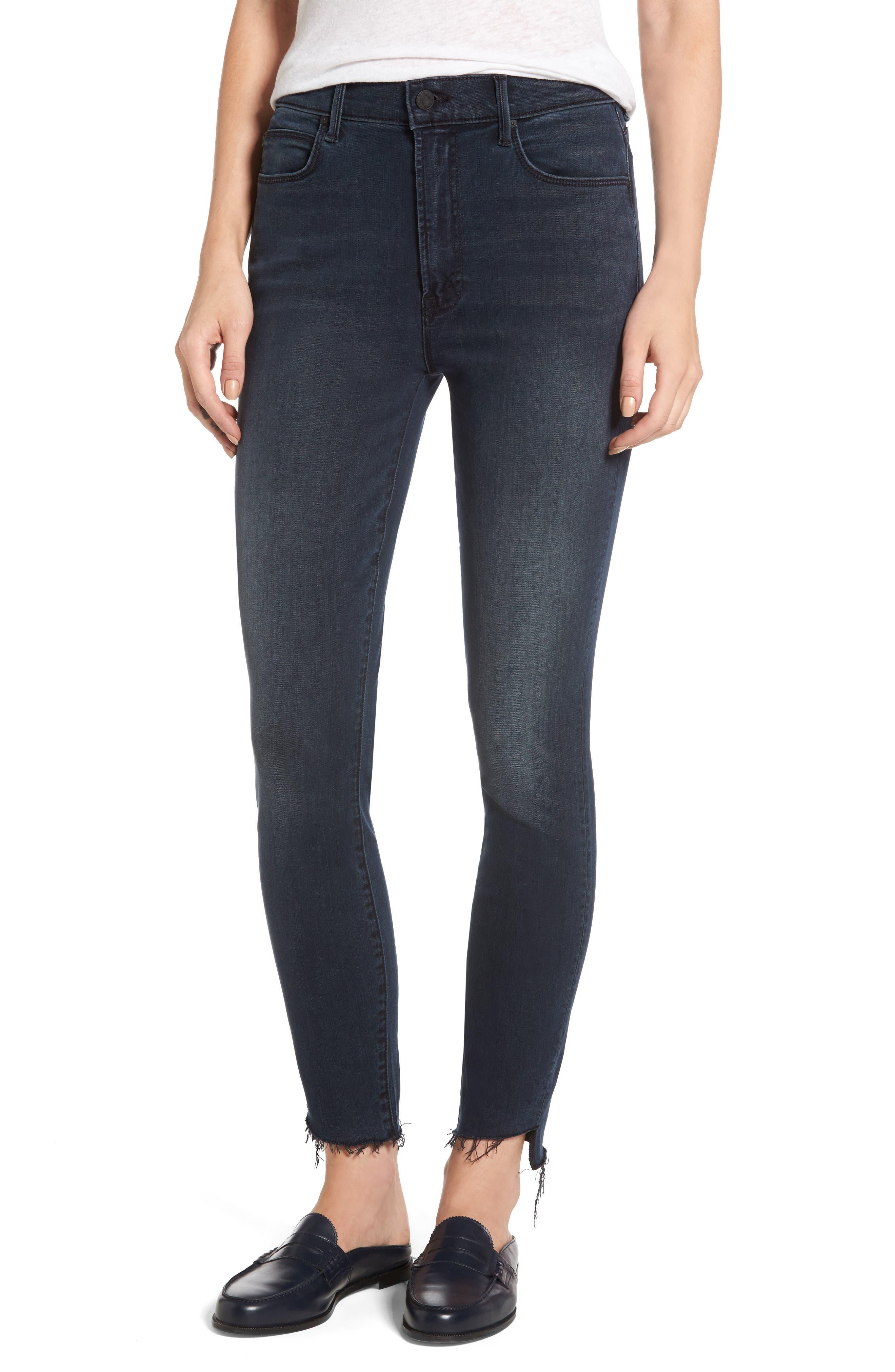 The Stunner High Waist Frayed Step Hem Jeans,                         Main,                         color,