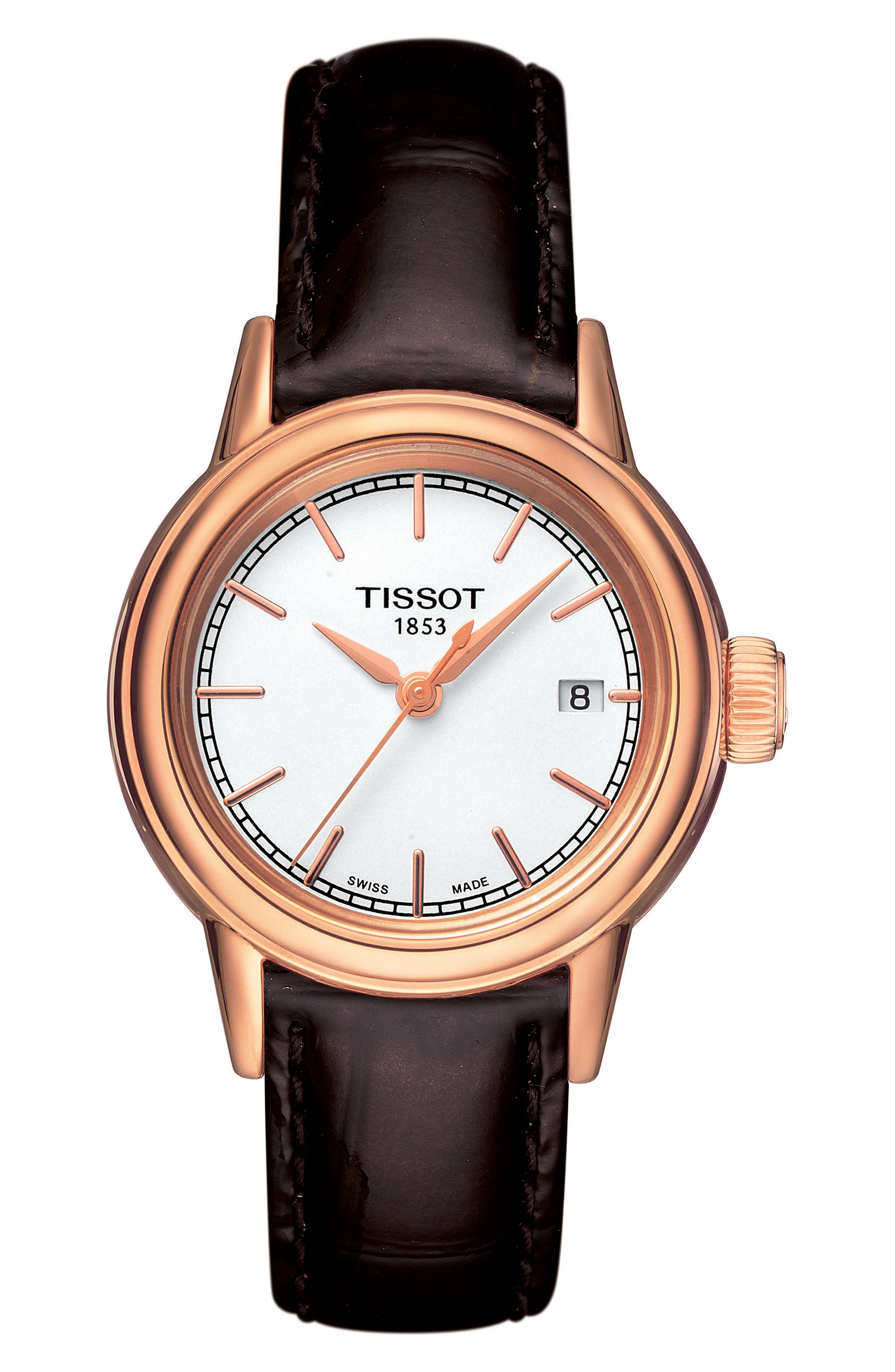 Carson Leather Strap Watch, 28mm, Main, color, BROWN/ WHITE/ ROSE GOLD 2
