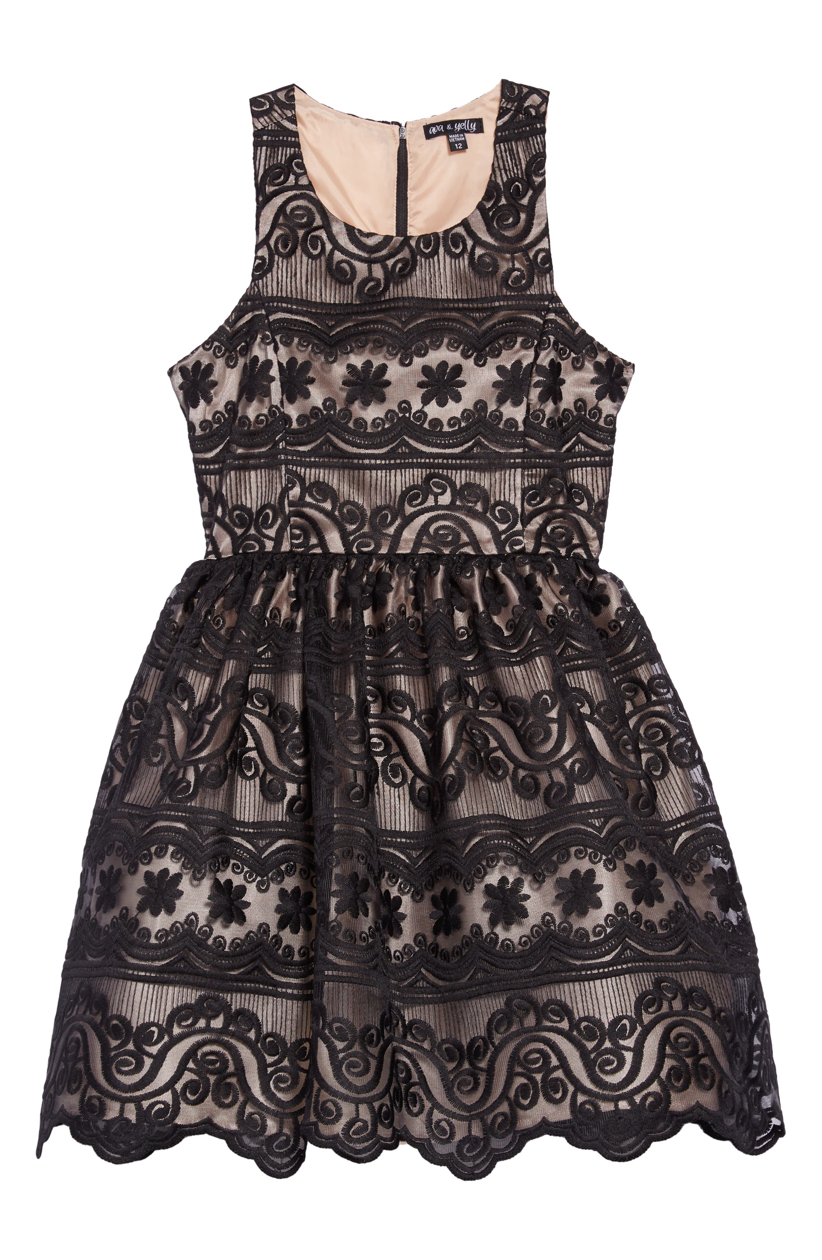Embroidered Dress,                         Main,                         color, BLACK