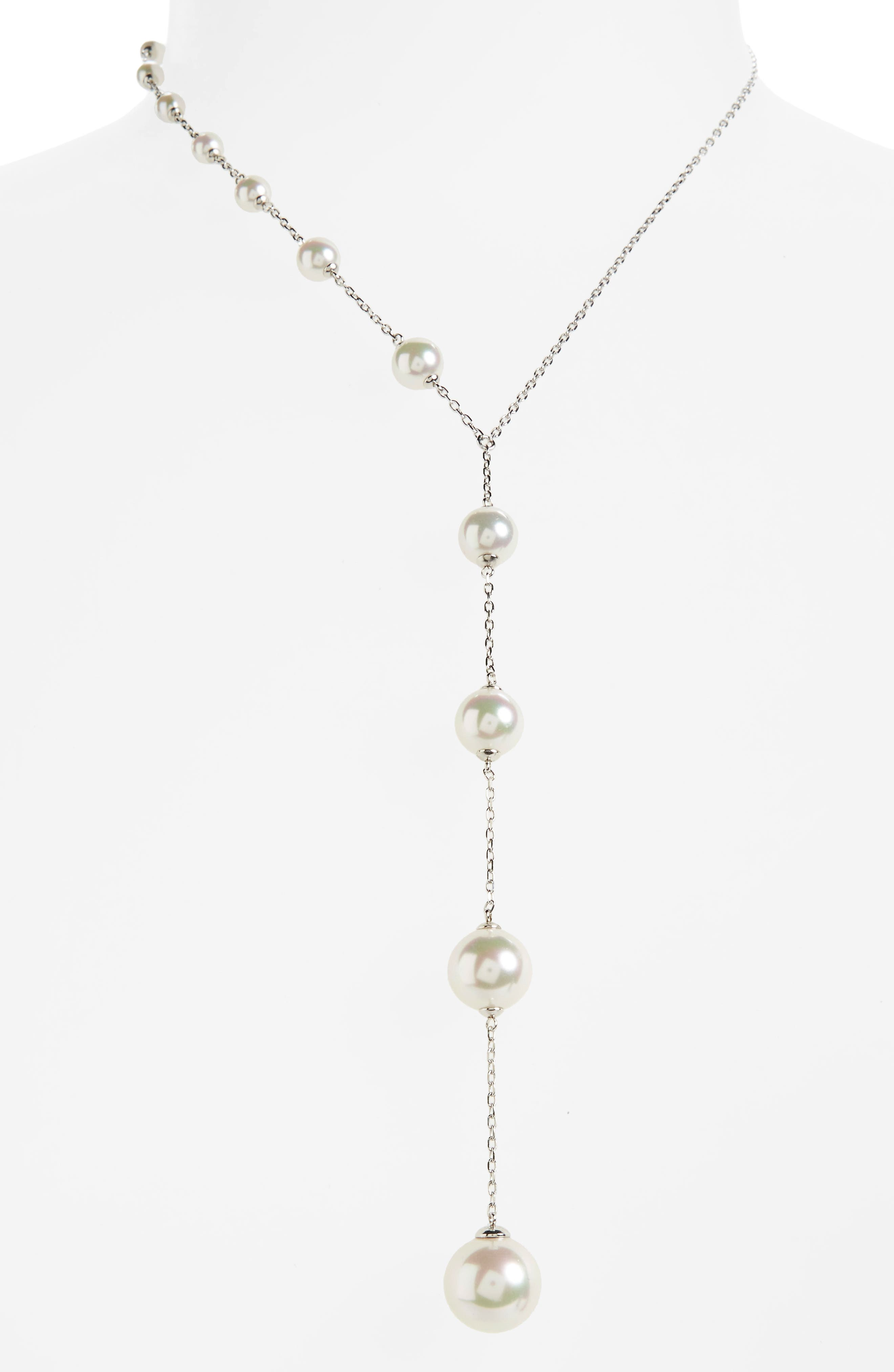 Illusion Simulated Pearl Y-Necklace,                             Alternate thumbnail 2, color,                             040
