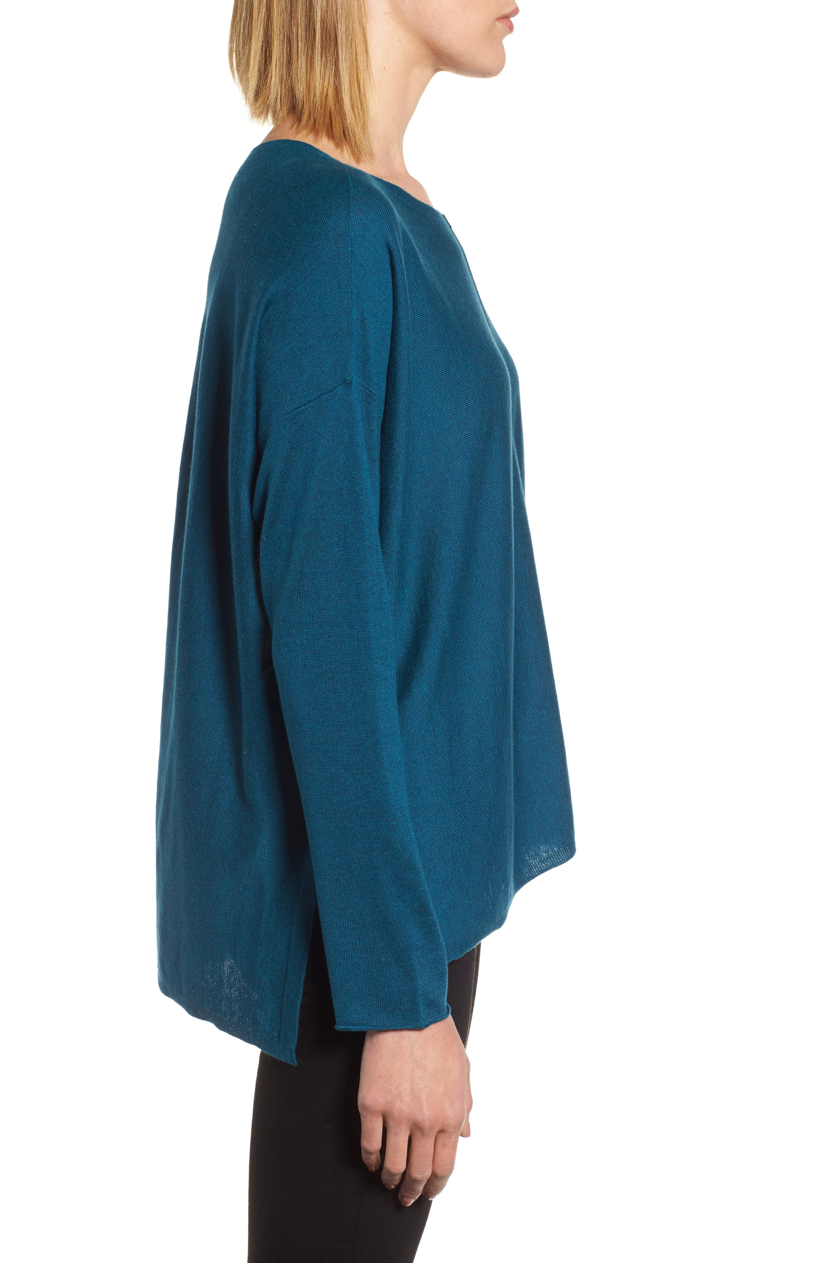 Tencel<sup>®</sup> Lyocell Blend High/Low Sweater,                             Alternate thumbnail 16, color,