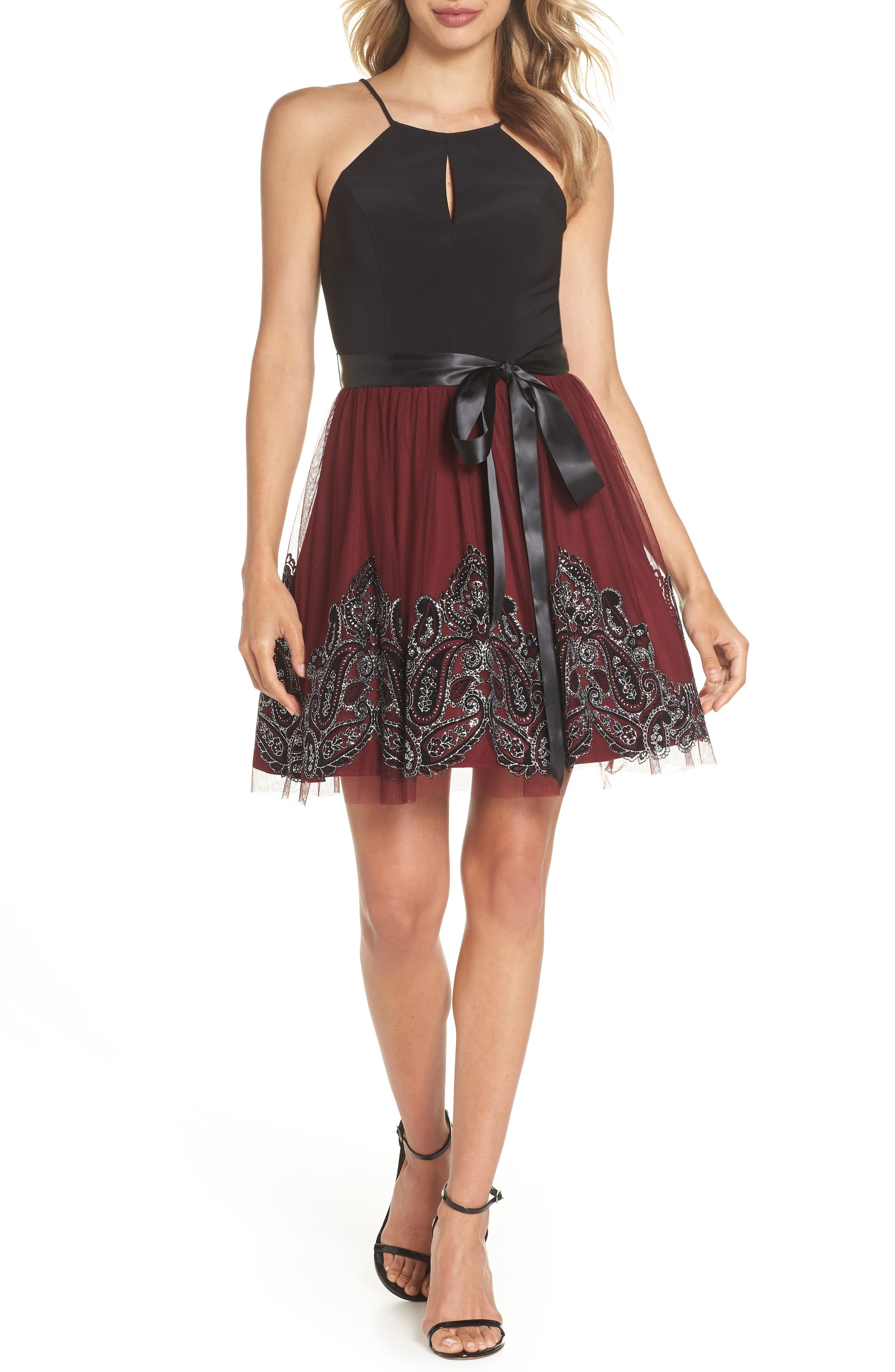 Embroidered Fit & Flare Dress,                             Main thumbnail 1, color,                             BLACK/ WINE