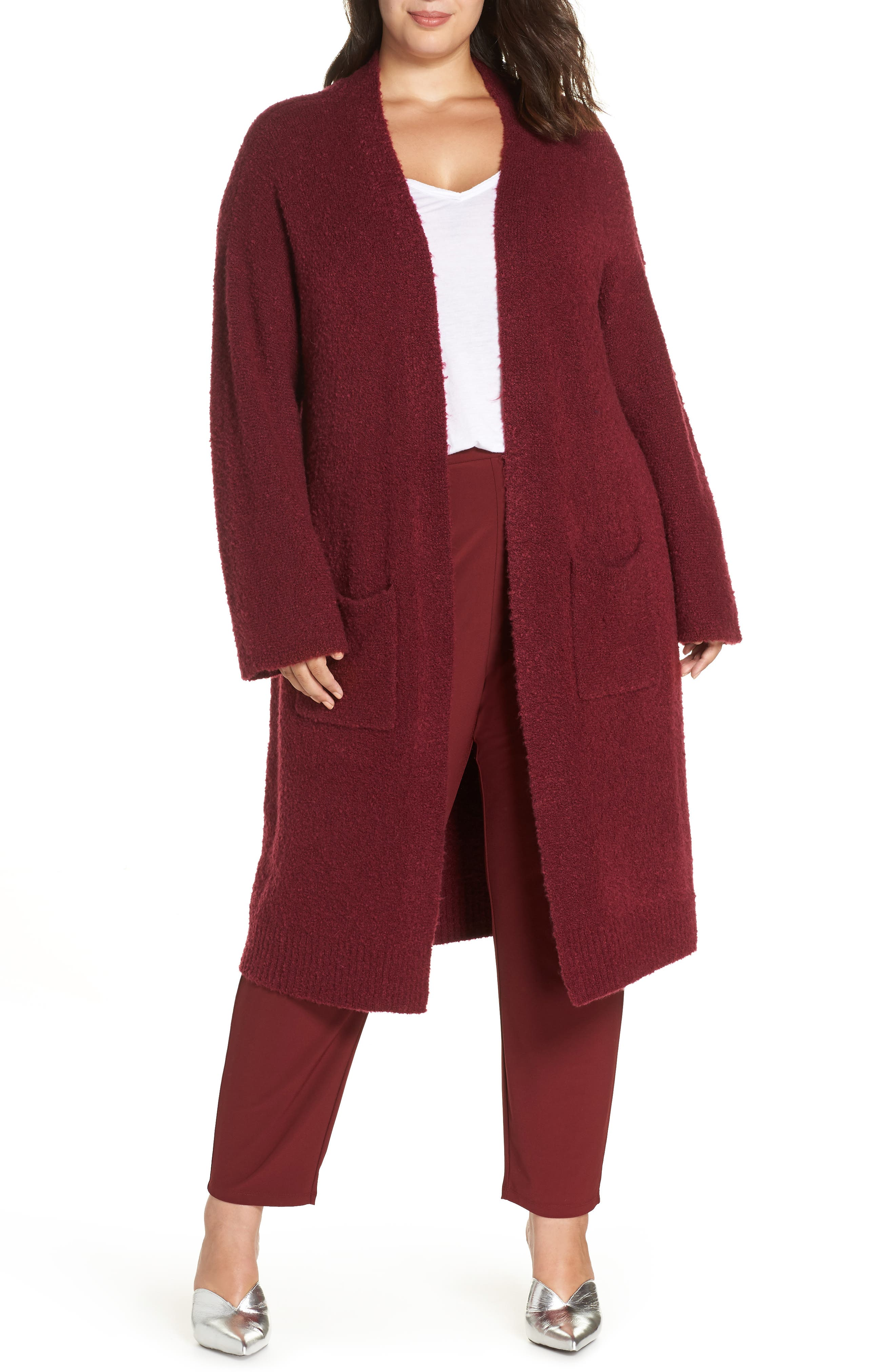 Bouclé Long Cardigan,                         Main,                         color, RED GRAPE