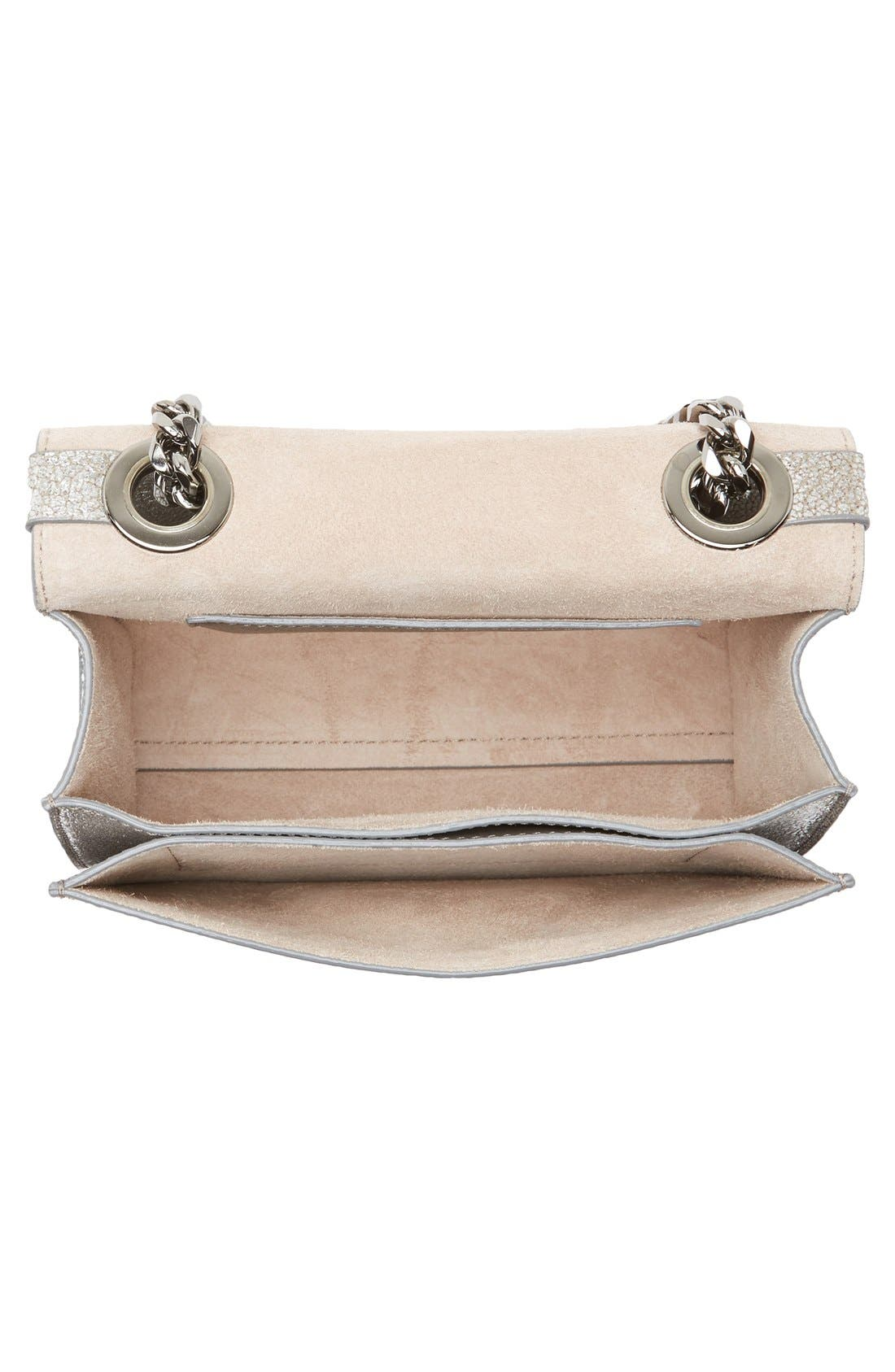 Rebel Mini Metallic Leather Crossbody Bag,                             Alternate thumbnail 4, color,                             040