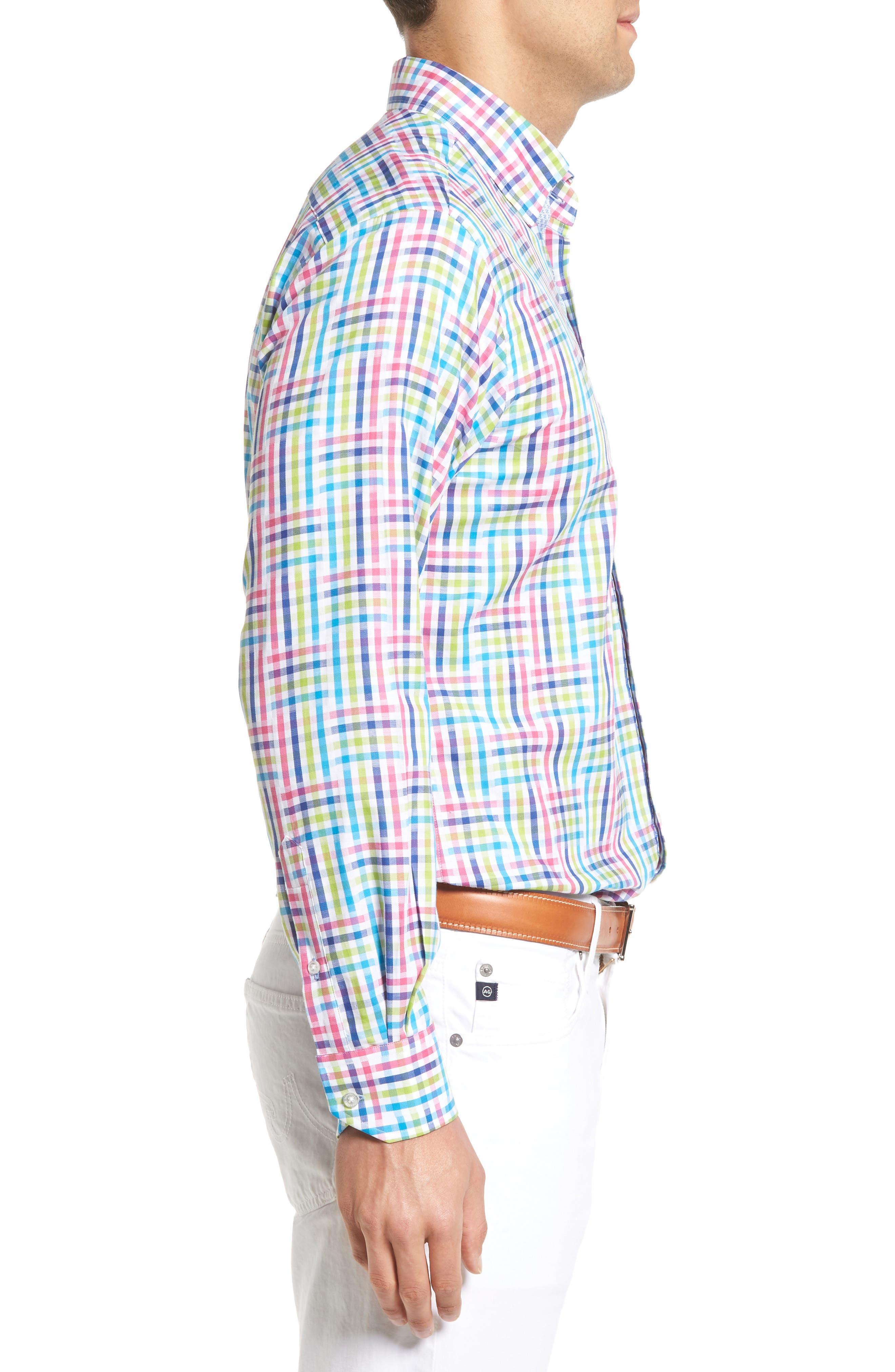 Cliffrose Regular Fit Buffalo Check Sport Shirt,                             Alternate thumbnail 3, color,                             650