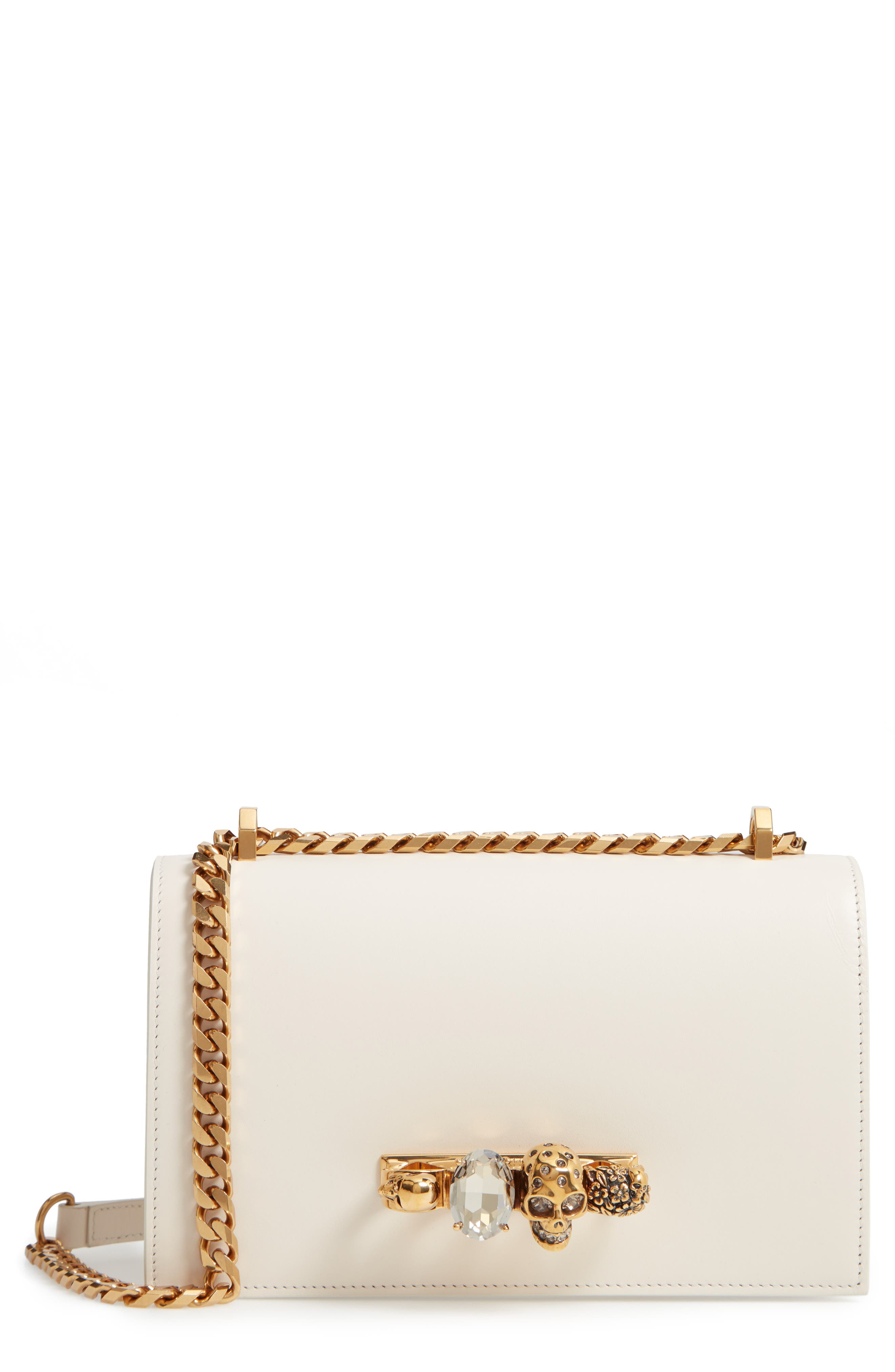 ALEXANDER MCQUEEN Leather Crossbody Bag, Main, color, OFF WHITE