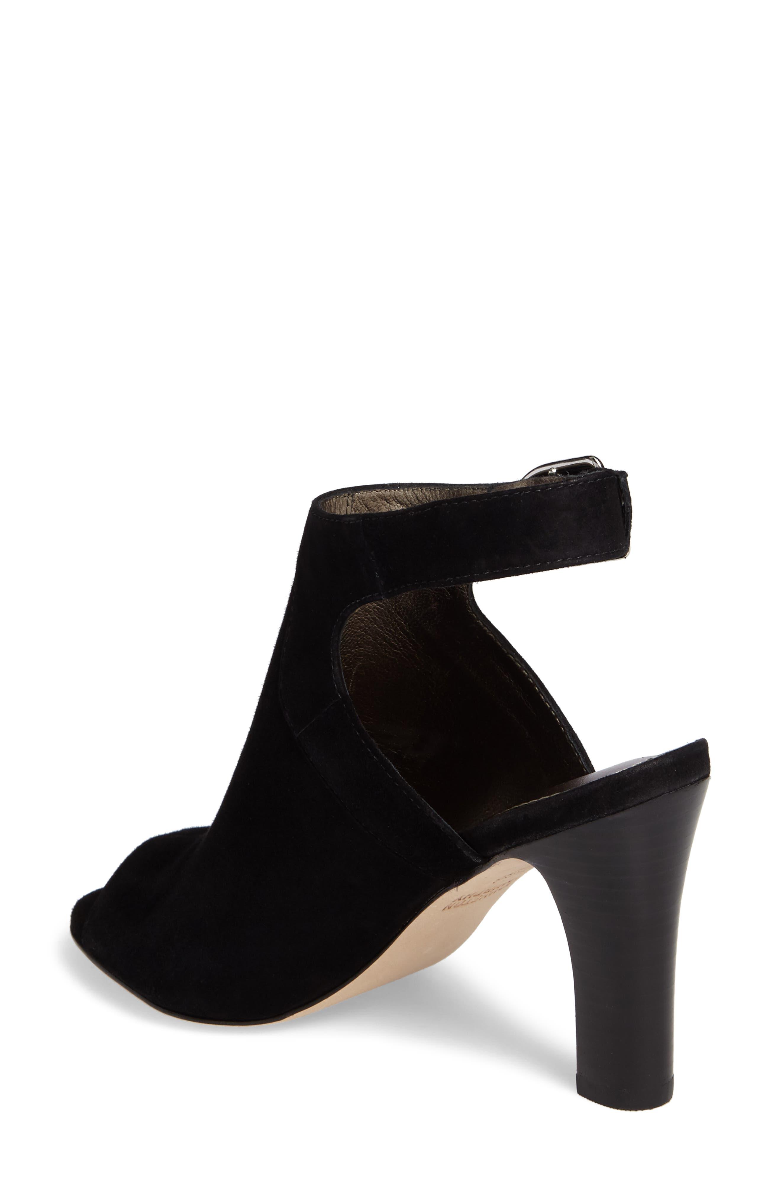 Cassie Peep Toe Sandal,                             Alternate thumbnail 2, color,                             BLACK LEATHER