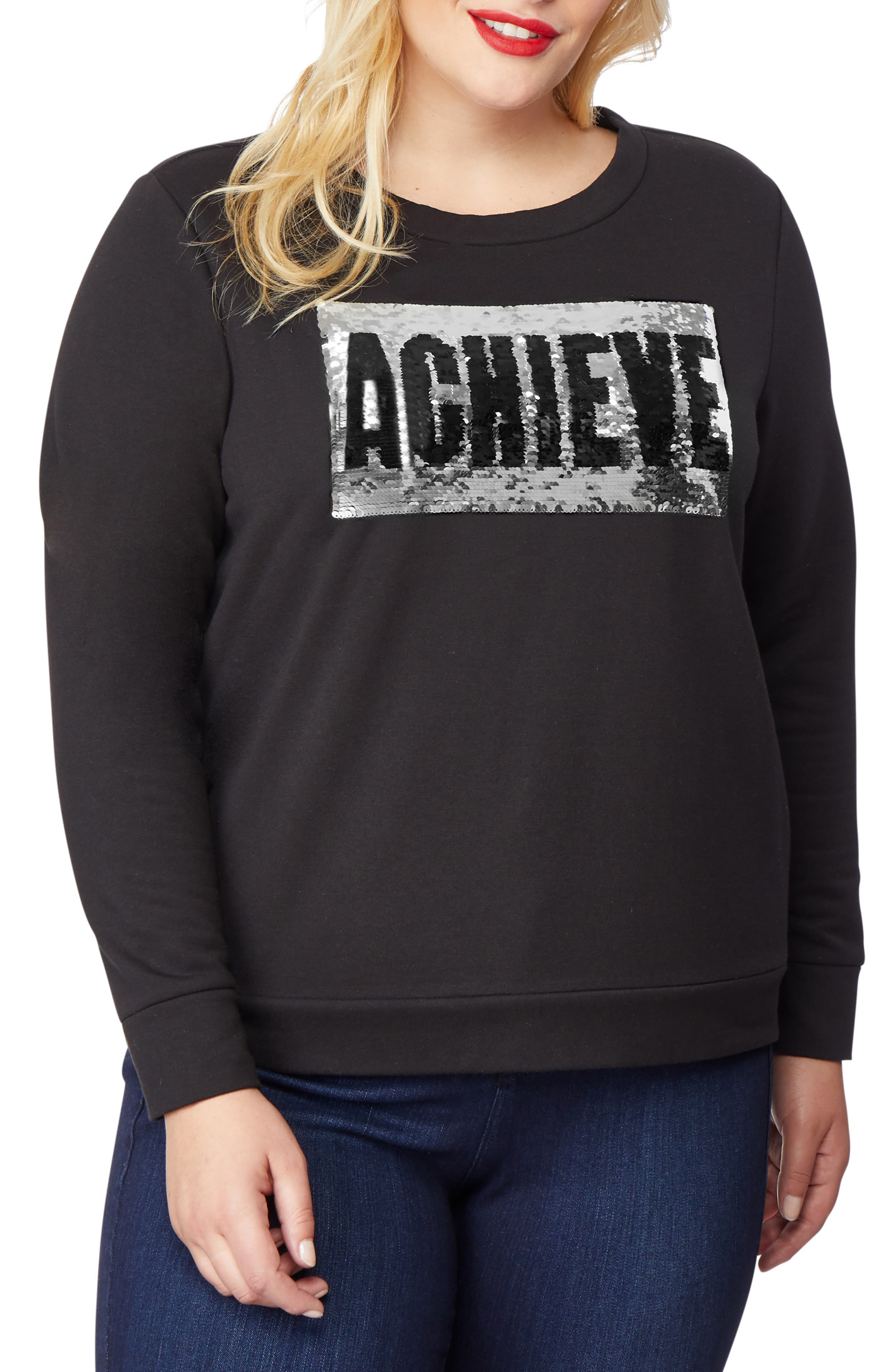 Embellished Sweatshirt,                             Main thumbnail 1, color,                             BELIEVE/ ACHIEVE