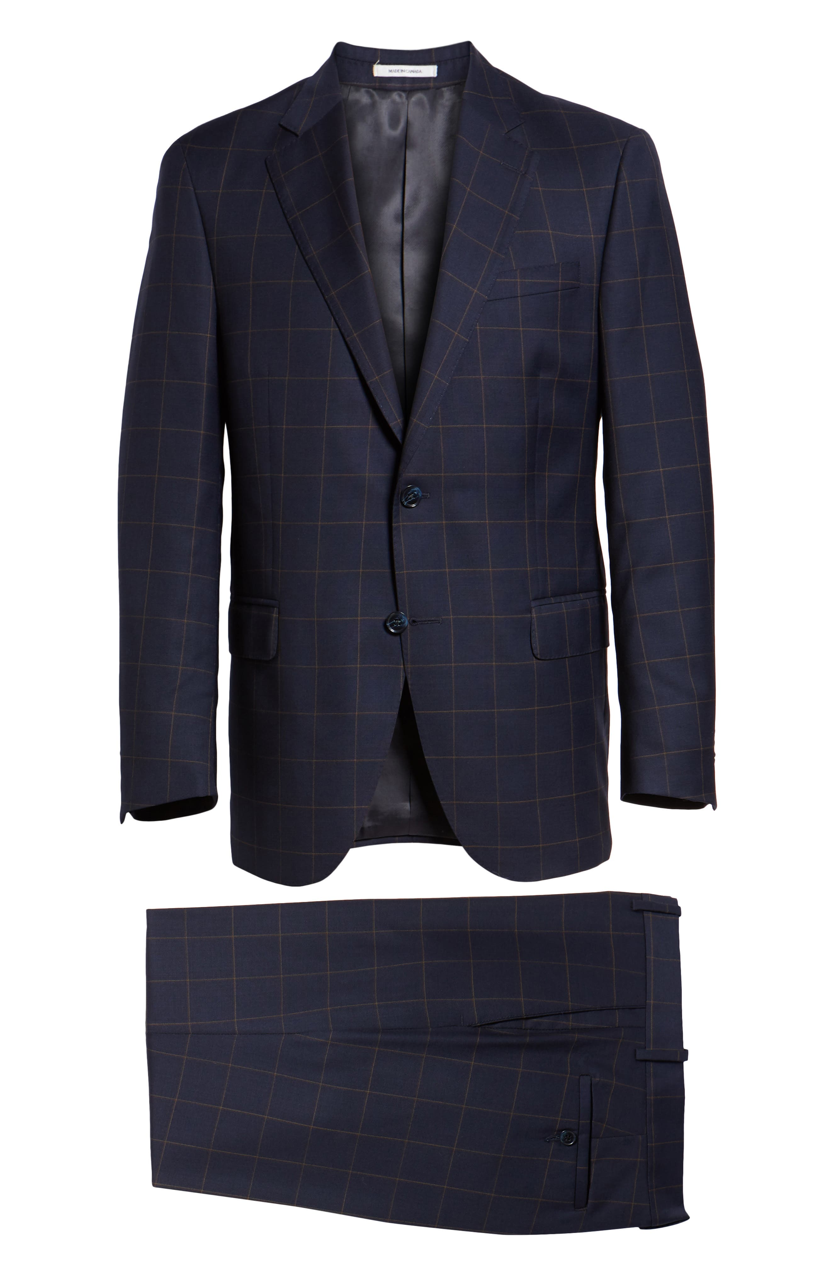 PETER MILLAR,                             Flynn Classic Fit Windowpane Wool Suit,                             Alternate thumbnail 8, color,                             NAVY