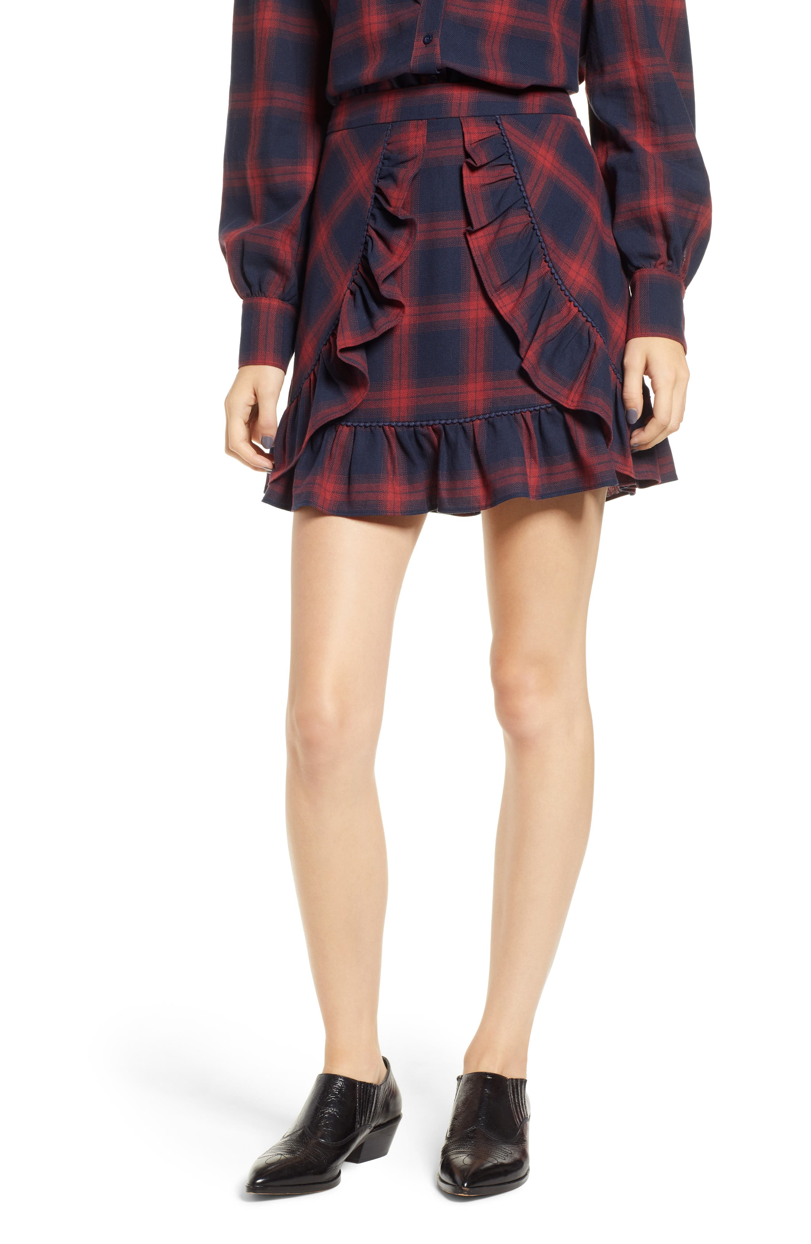 The Fifth Label Nash Check Ruffle Hem Skirt, Blue