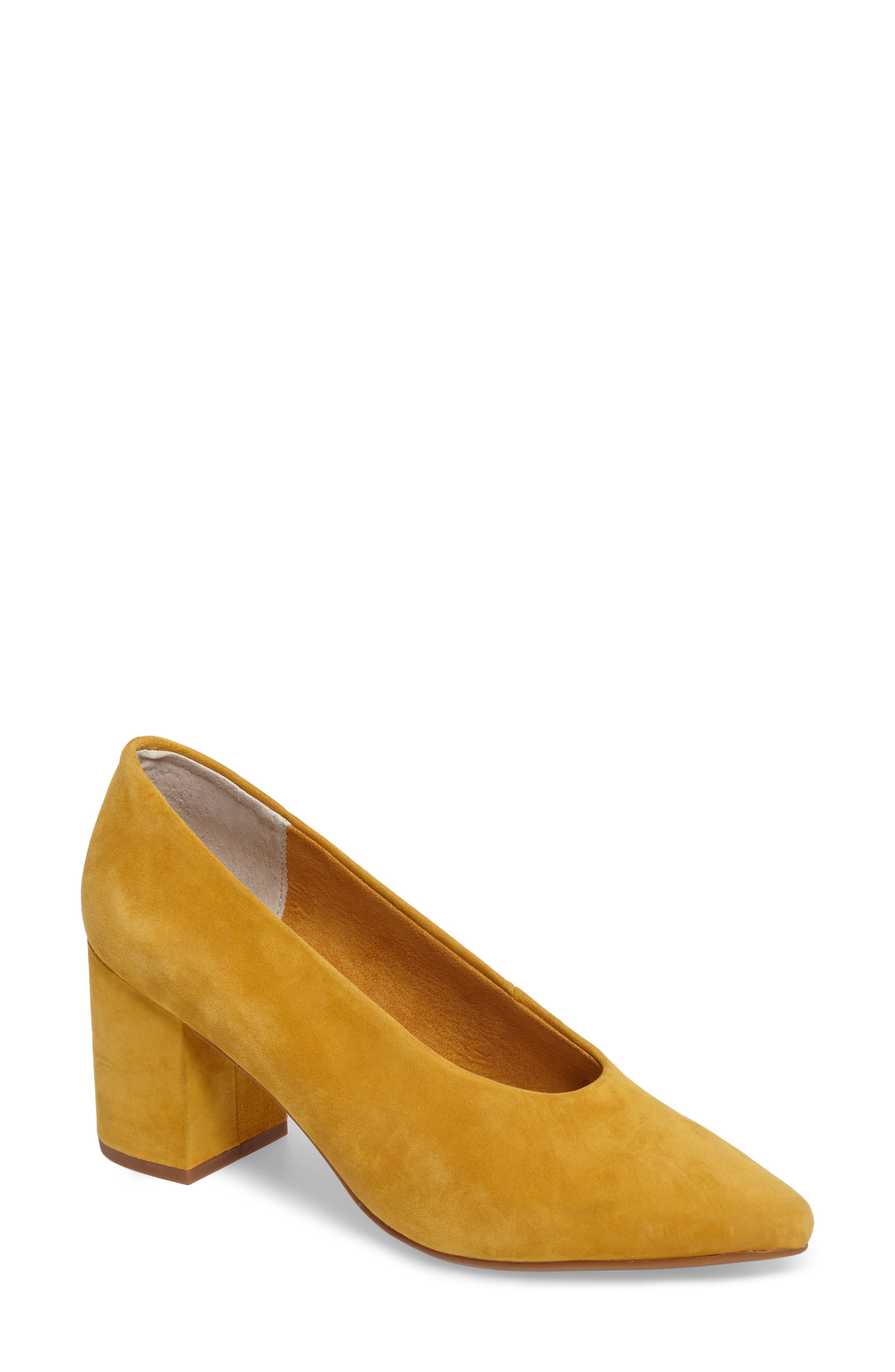 Rehearse Pointy Toe Pump,                             Main thumbnail 1, color,                             MUSTARD SUEDE