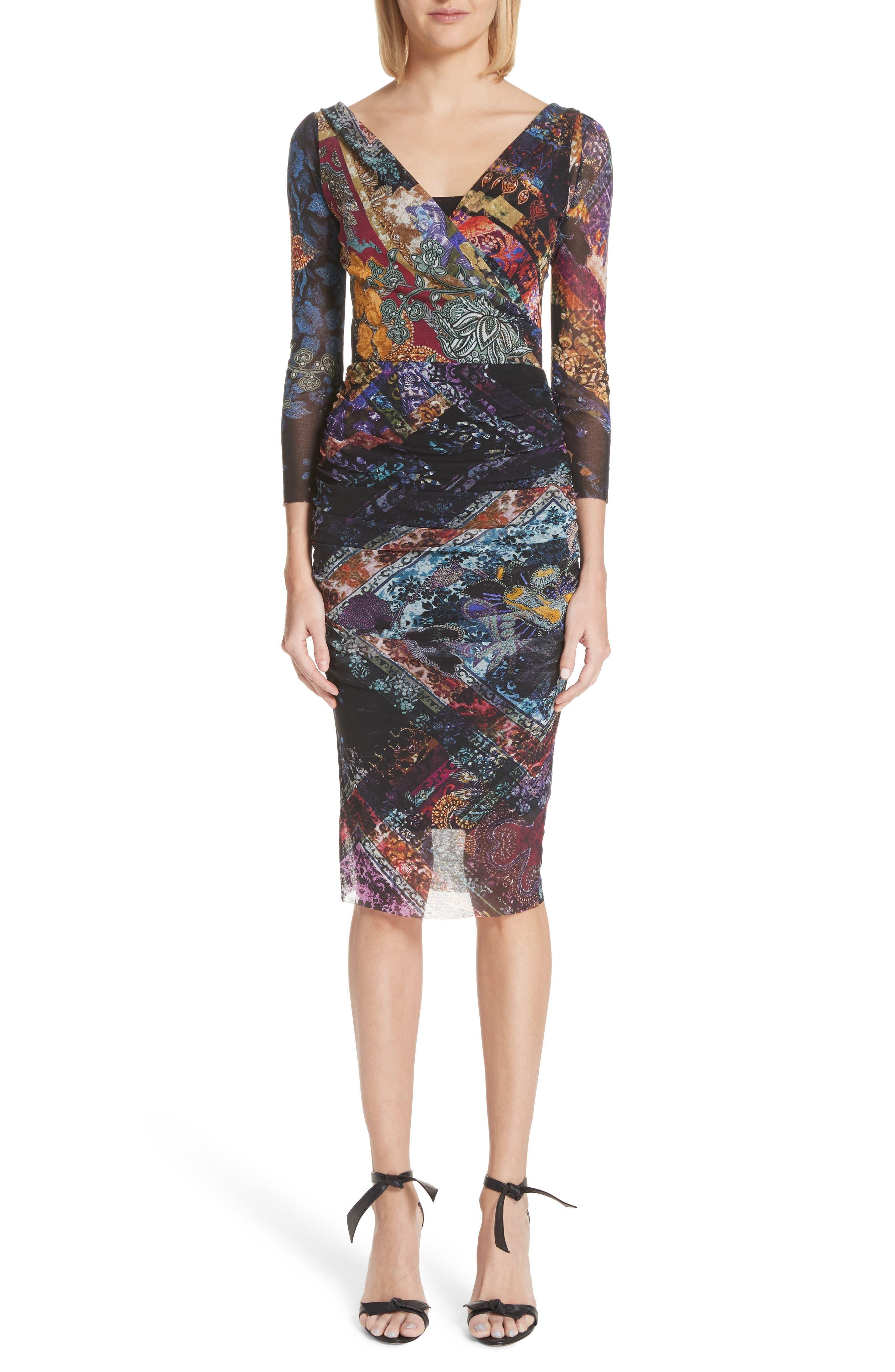 FUZZI Golden Patchwork Tulle Surplice Body-Con Dress in Nero