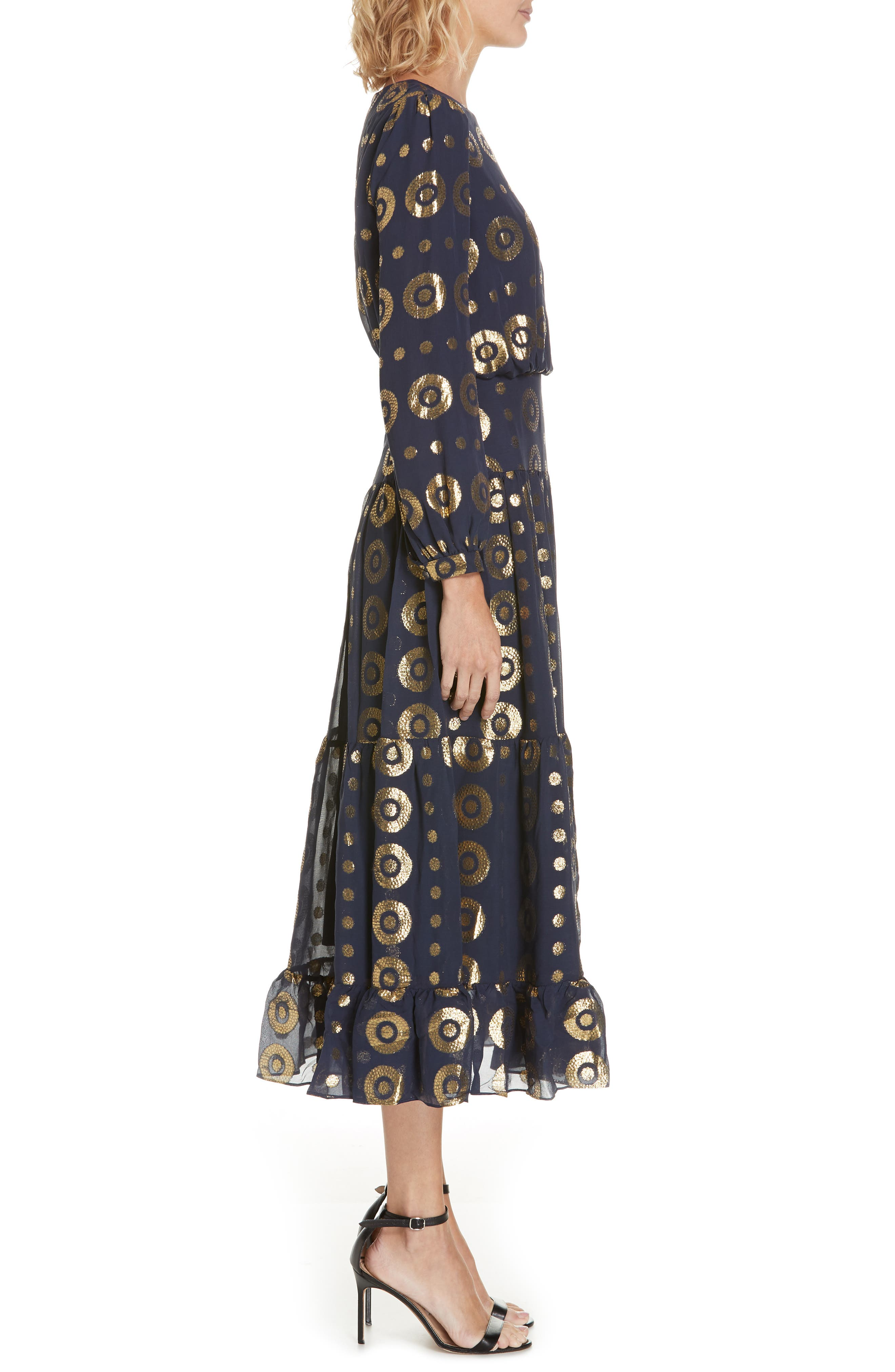 Isabel Fil Coupé Silk Blend Midi Dress,                             Alternate thumbnail 3, color,                             NAVY/ GOLD