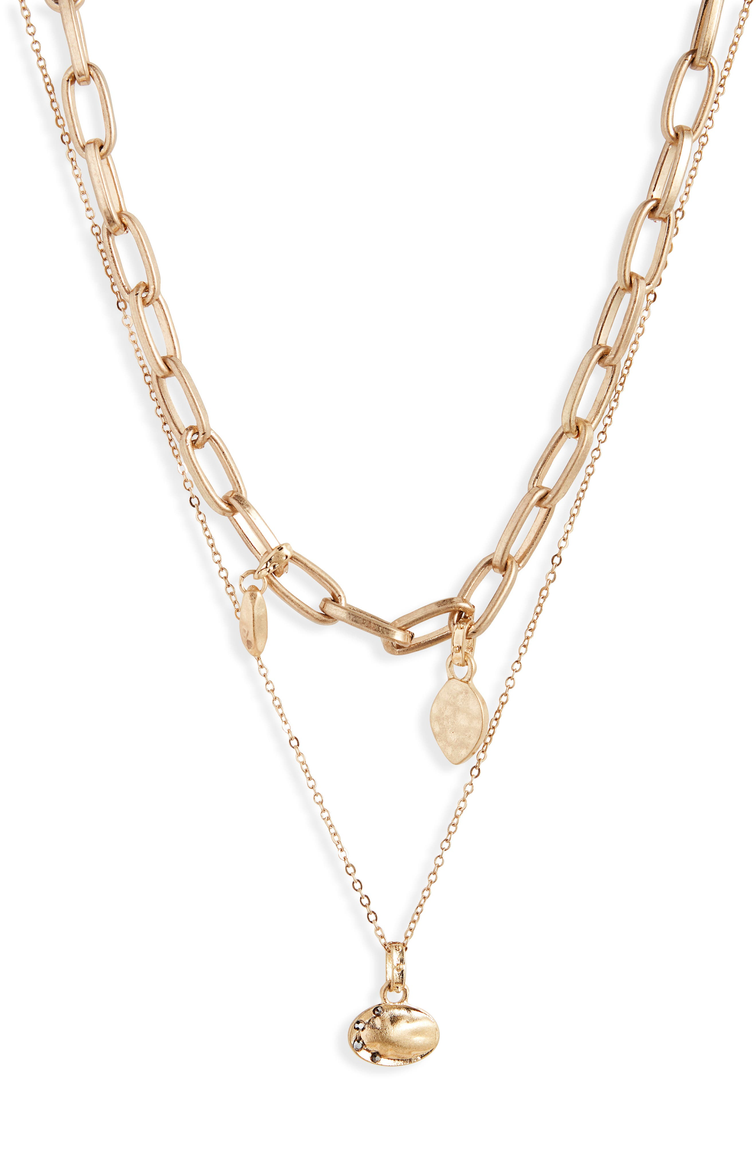 Tier Chain Link Necklace,                         Main,                         color, BLACK DIAMOND- GOLD