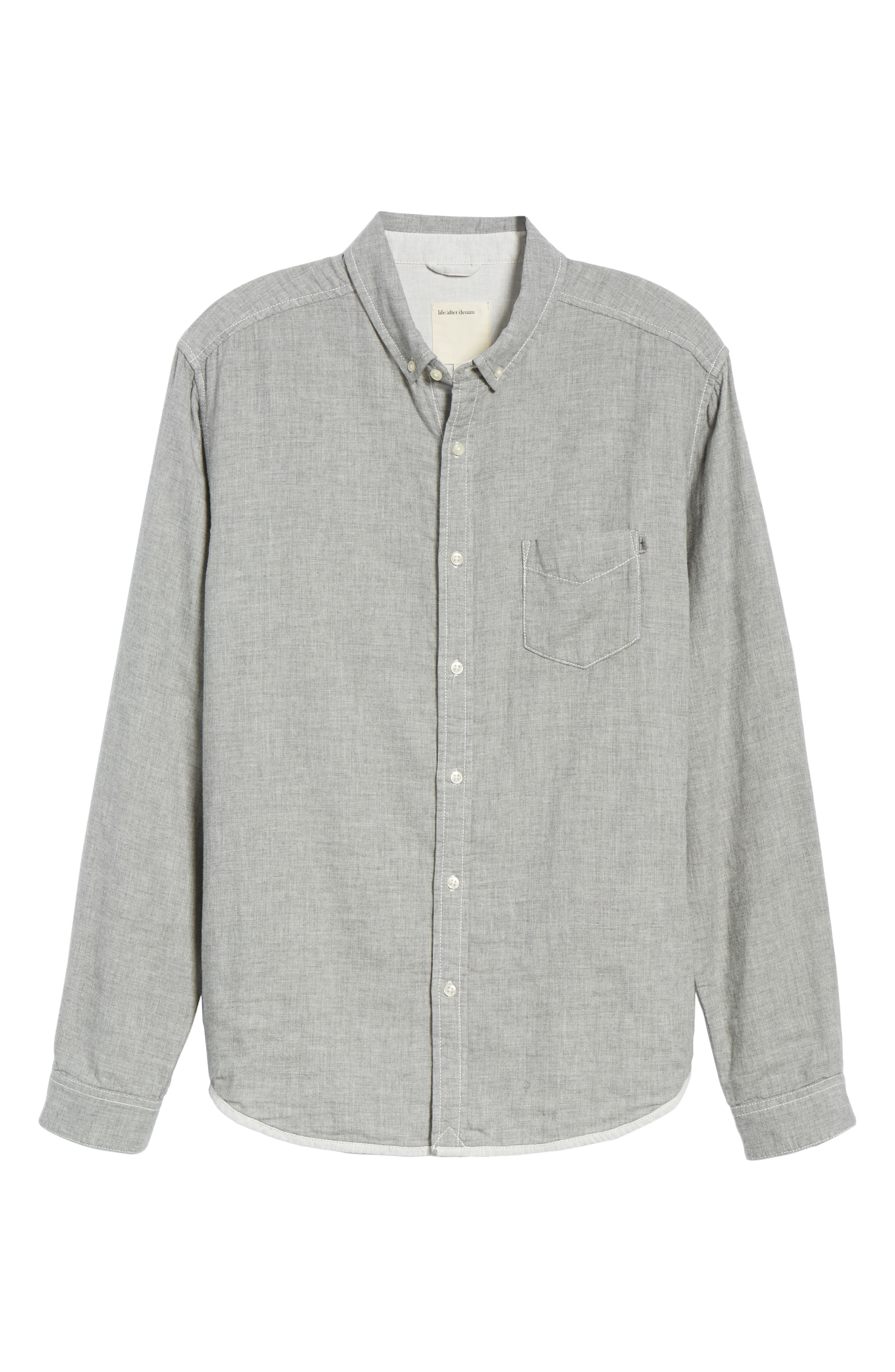 Ithaca Slim Fit Chambray Sport Shirt,                             Alternate thumbnail 5, color,                             HEATHER GREY