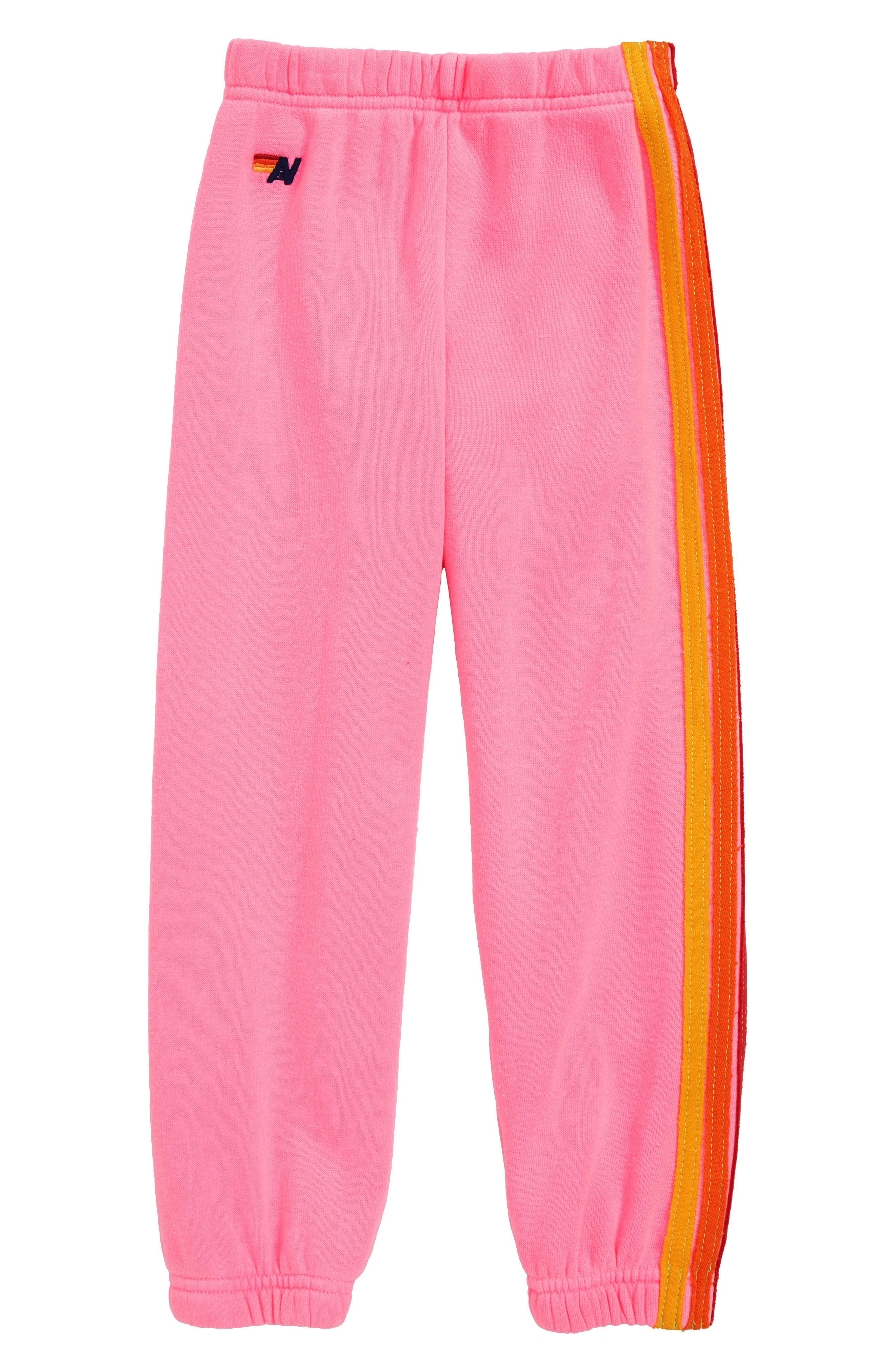 5-Stripe Sweatpants,                             Main thumbnail 1, color,                             NEON PINK
