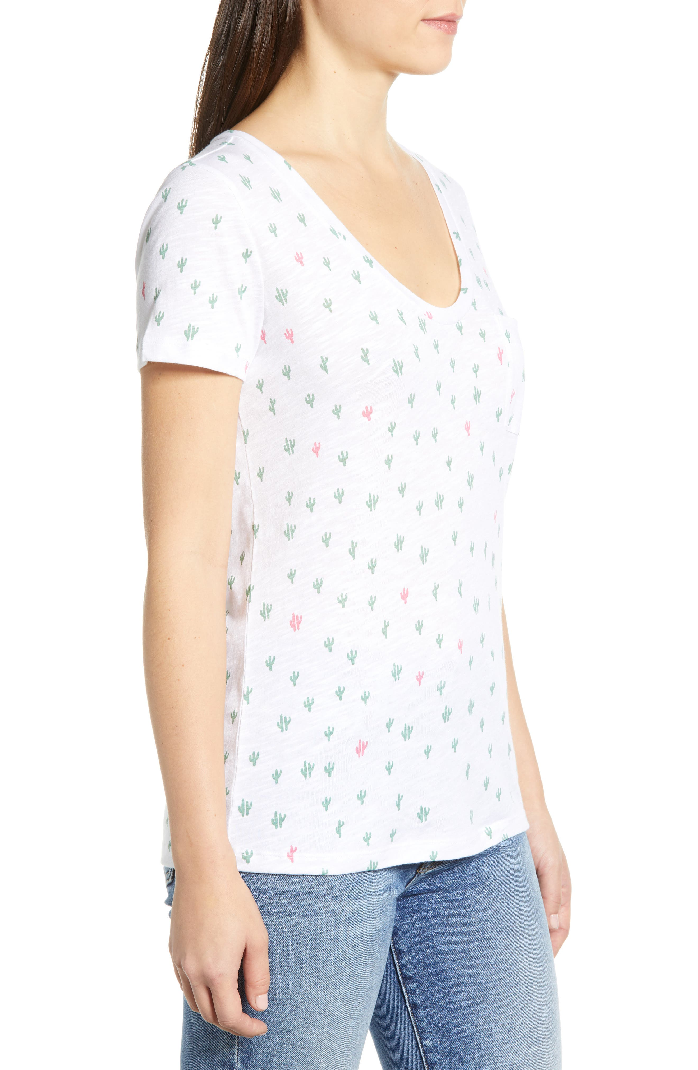 CASLON<SUP>®</SUP>,                             Rounded V-Neck Tee,                             Alternate thumbnail 3, color,                             WHITE CACTUS PRINT
