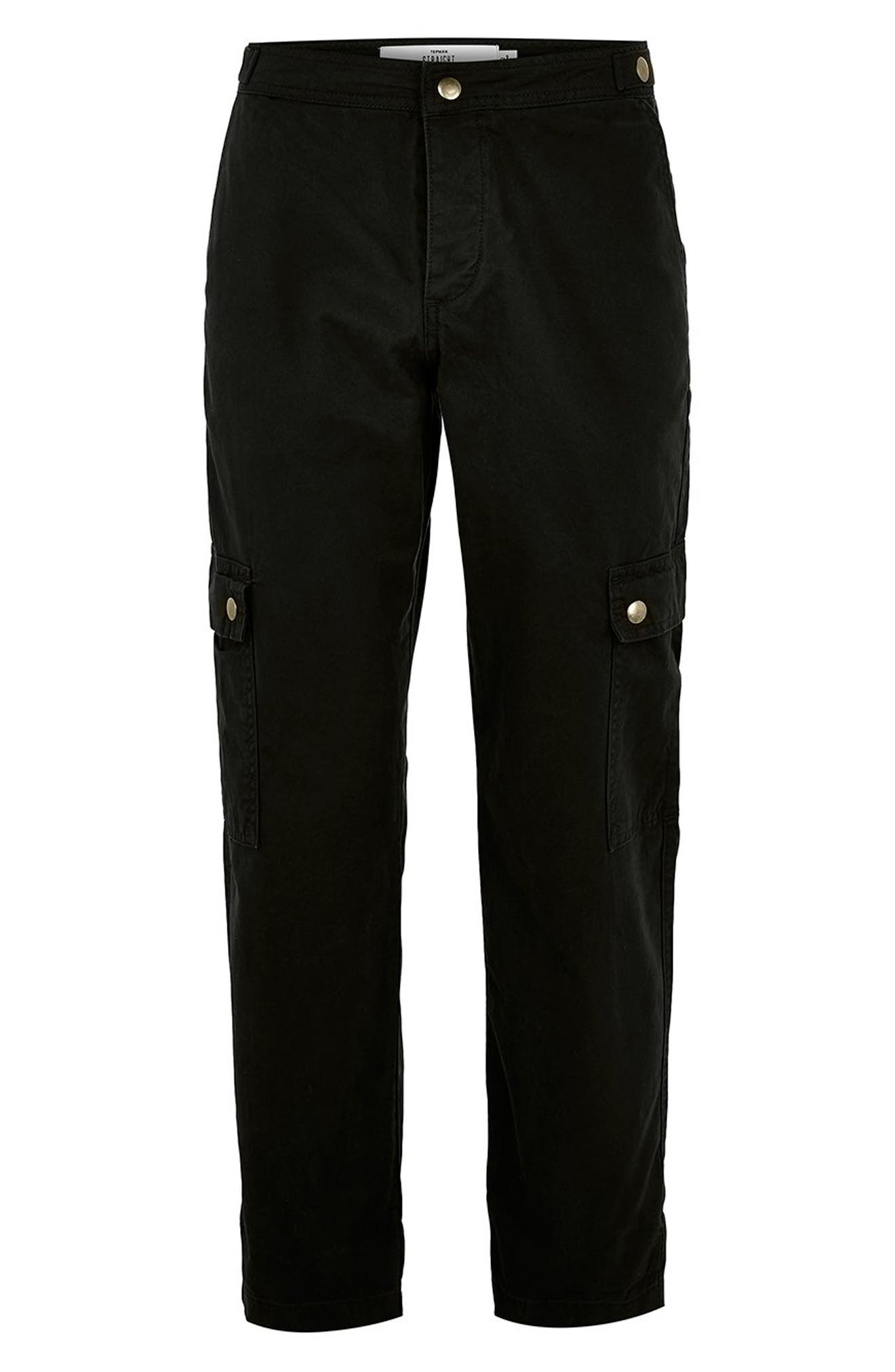 Straight Fit Cargo Trousers,                             Alternate thumbnail 4, color,                             BLACK