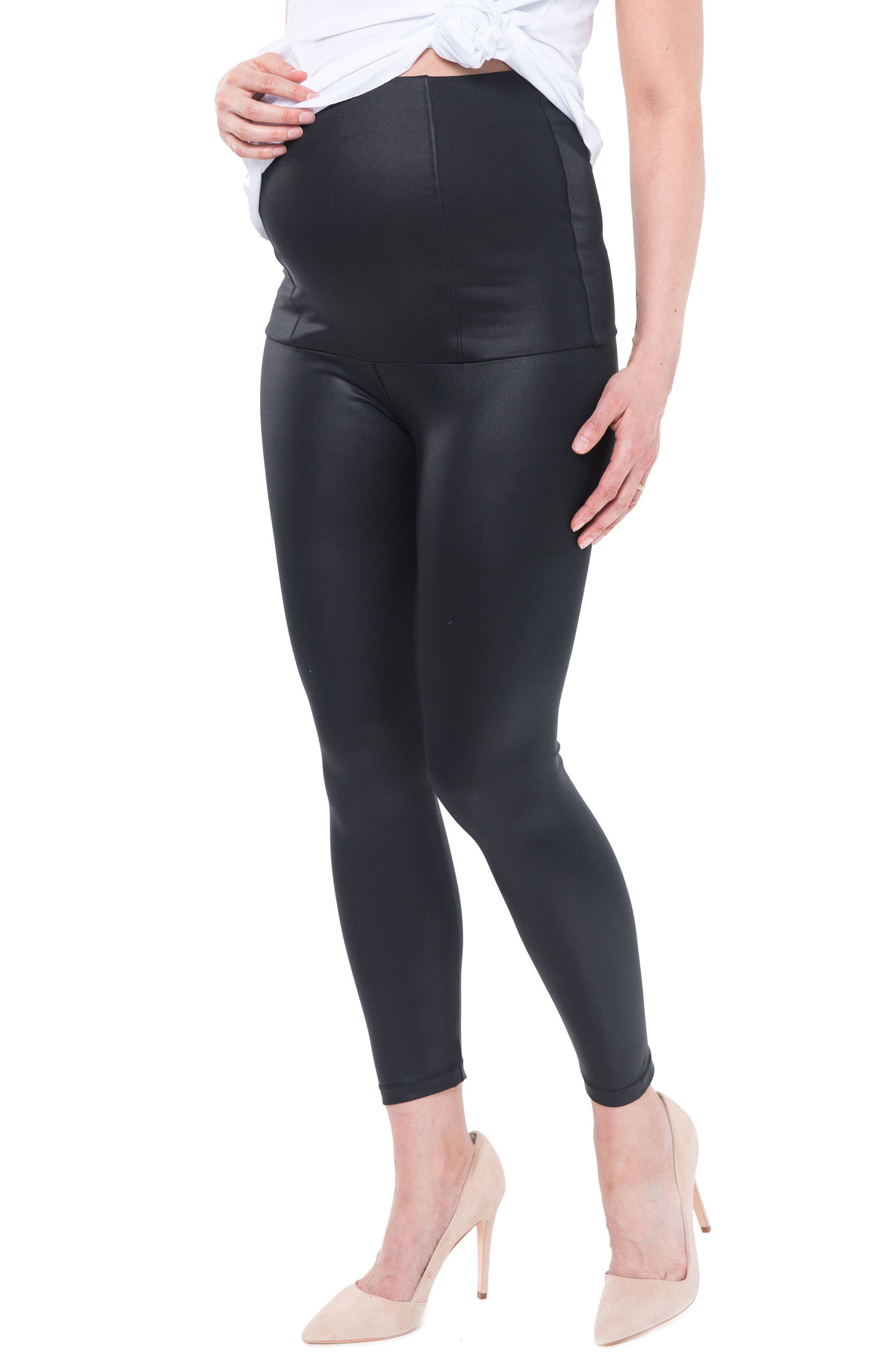 Date Night Over the Belly Coated Maternity Leggings, Main, color, BLACK