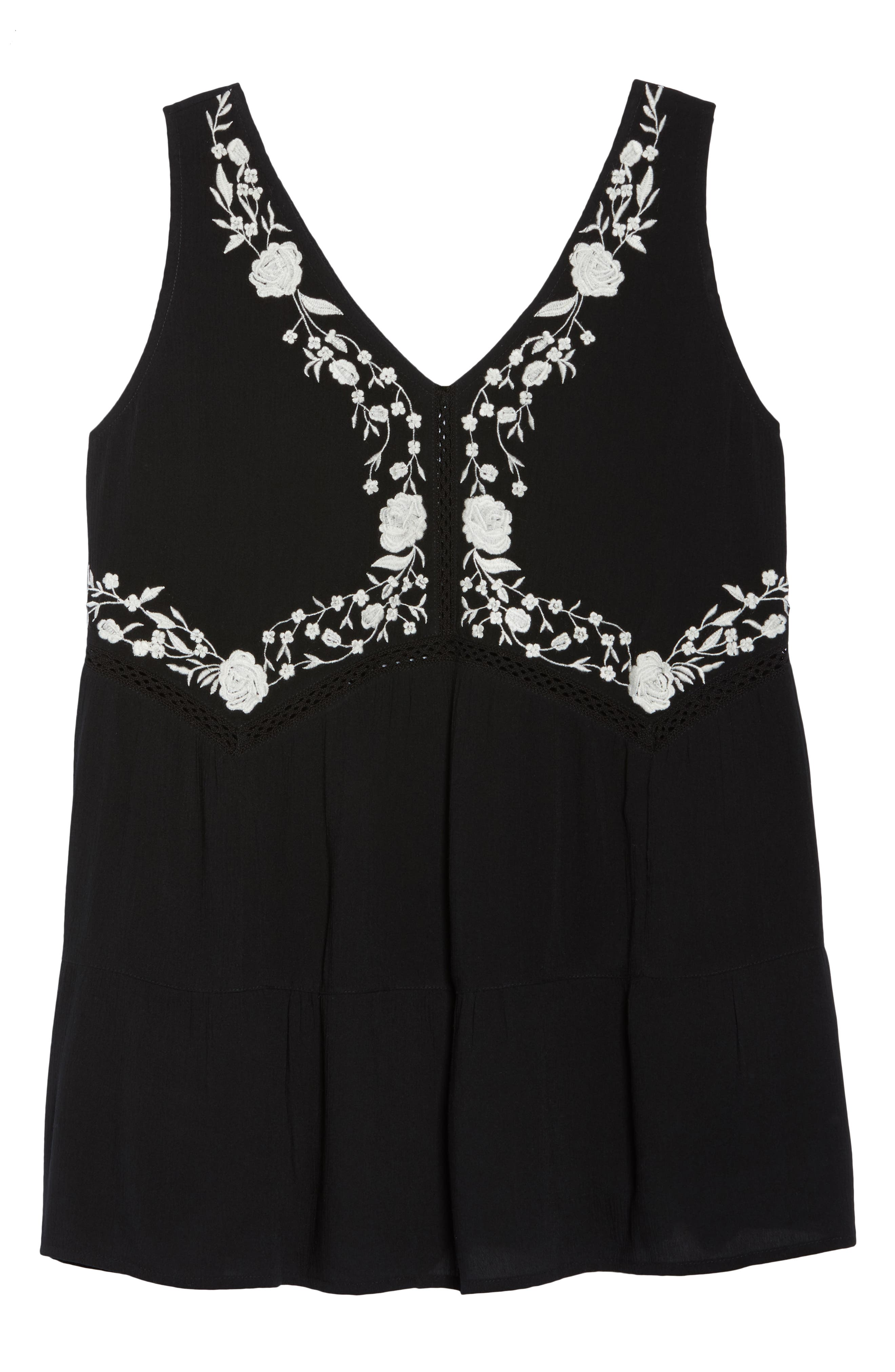 ANGIE,                             Embroidered Woven Tank,                             Alternate thumbnail 7, color,                             001
