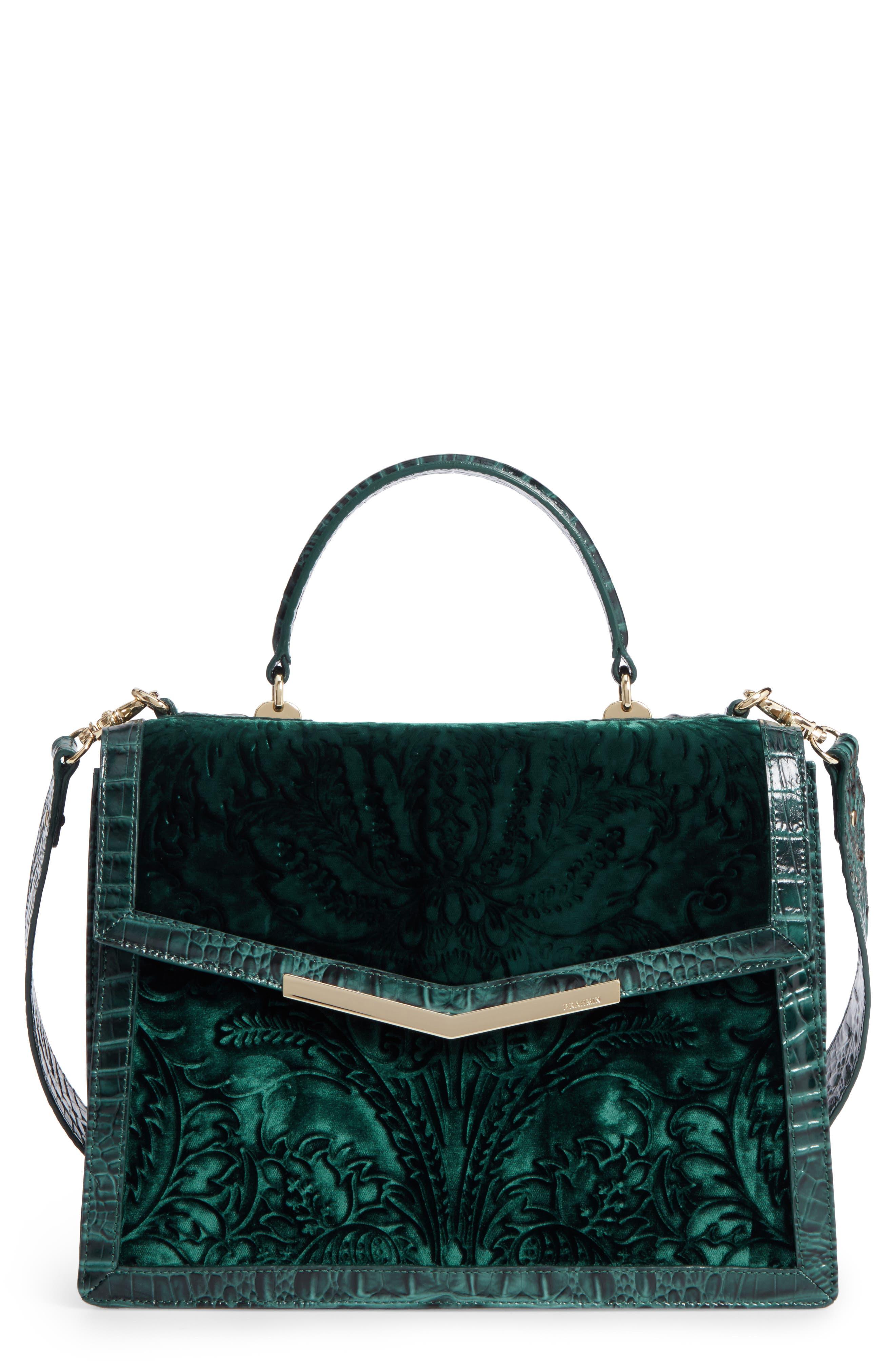 Ivy Cellini Gabriella Embossed Velvet Top Handle Satchel,                         Main,                         color, 353