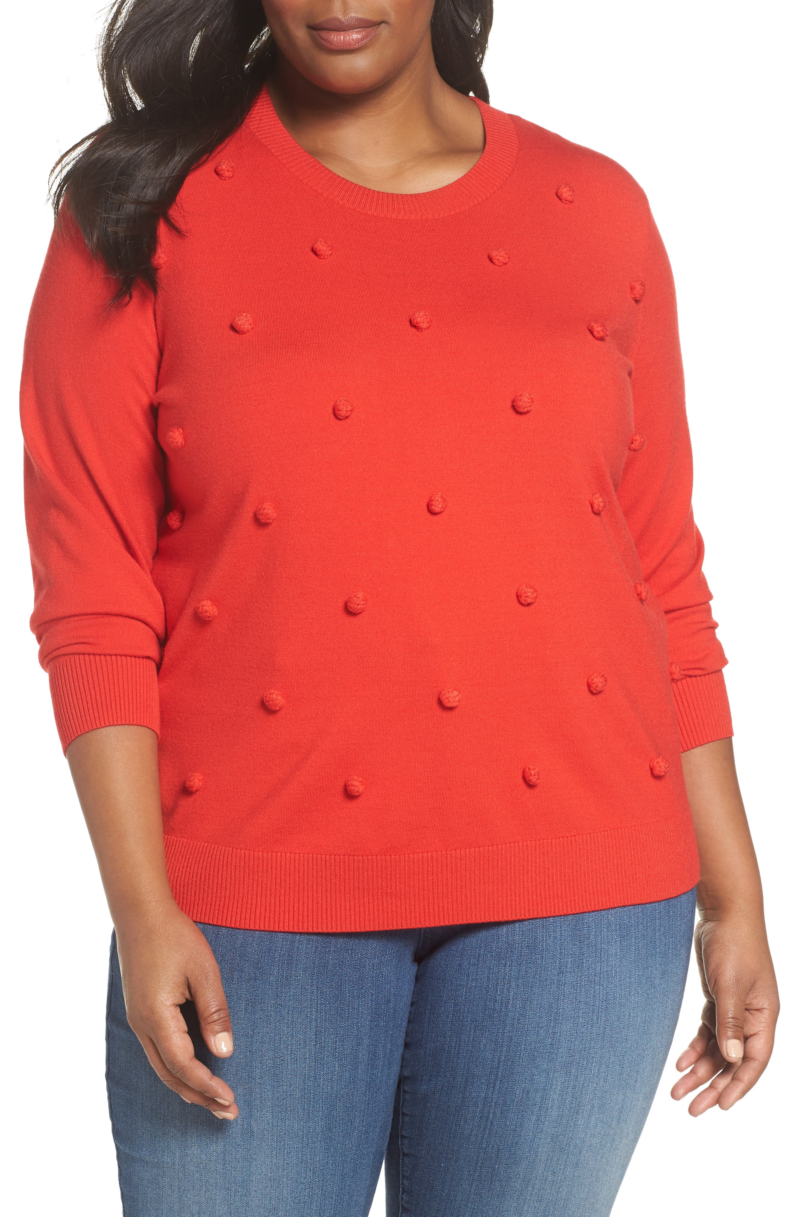 Popcorn Stitch Sweater,                         Main,                         color, RED TOMATO