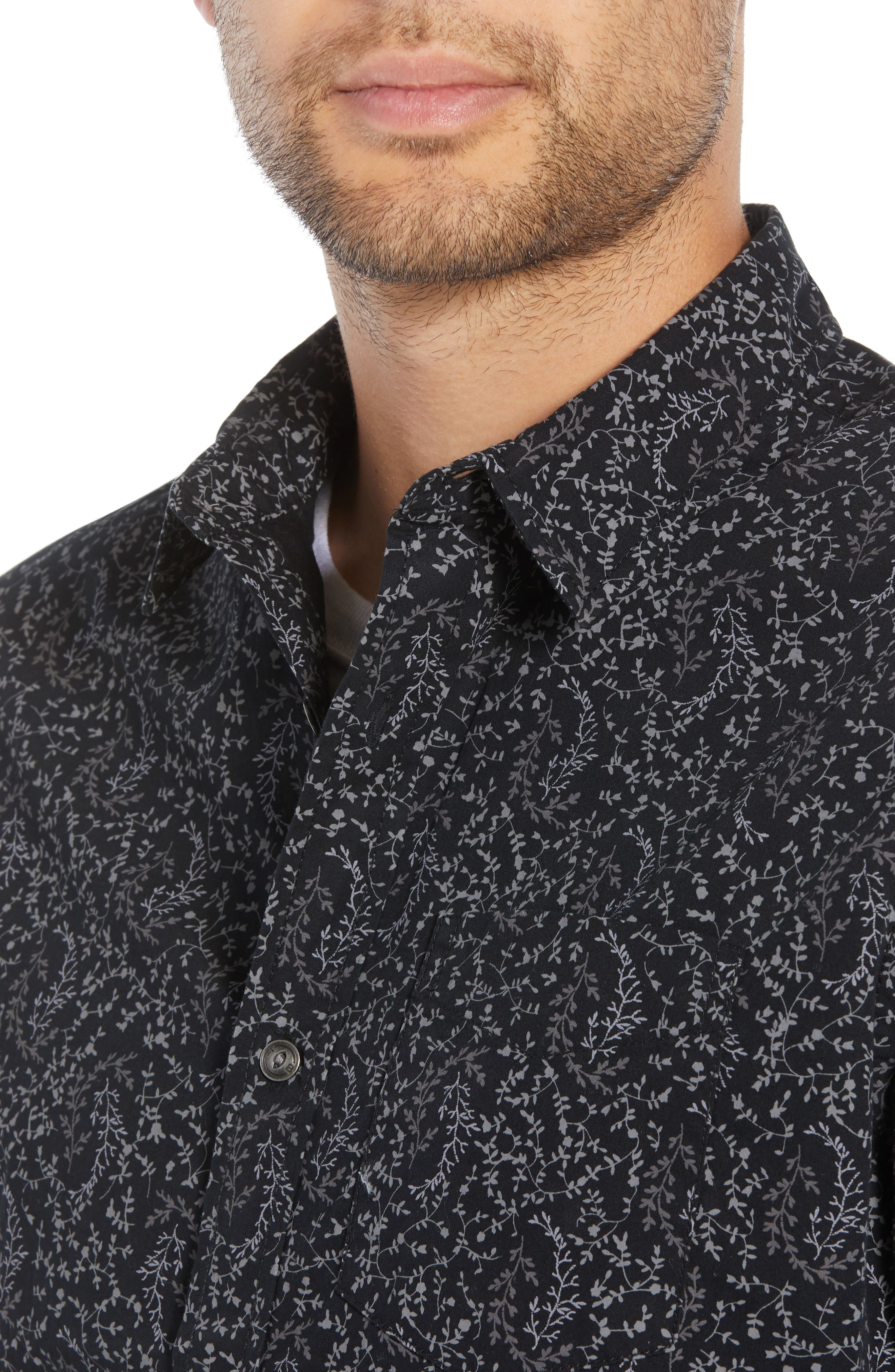 Regular Fit Print Sport Shirt,                             Alternate thumbnail 4, color,                             BLACK ROCK TUMBLEWEED