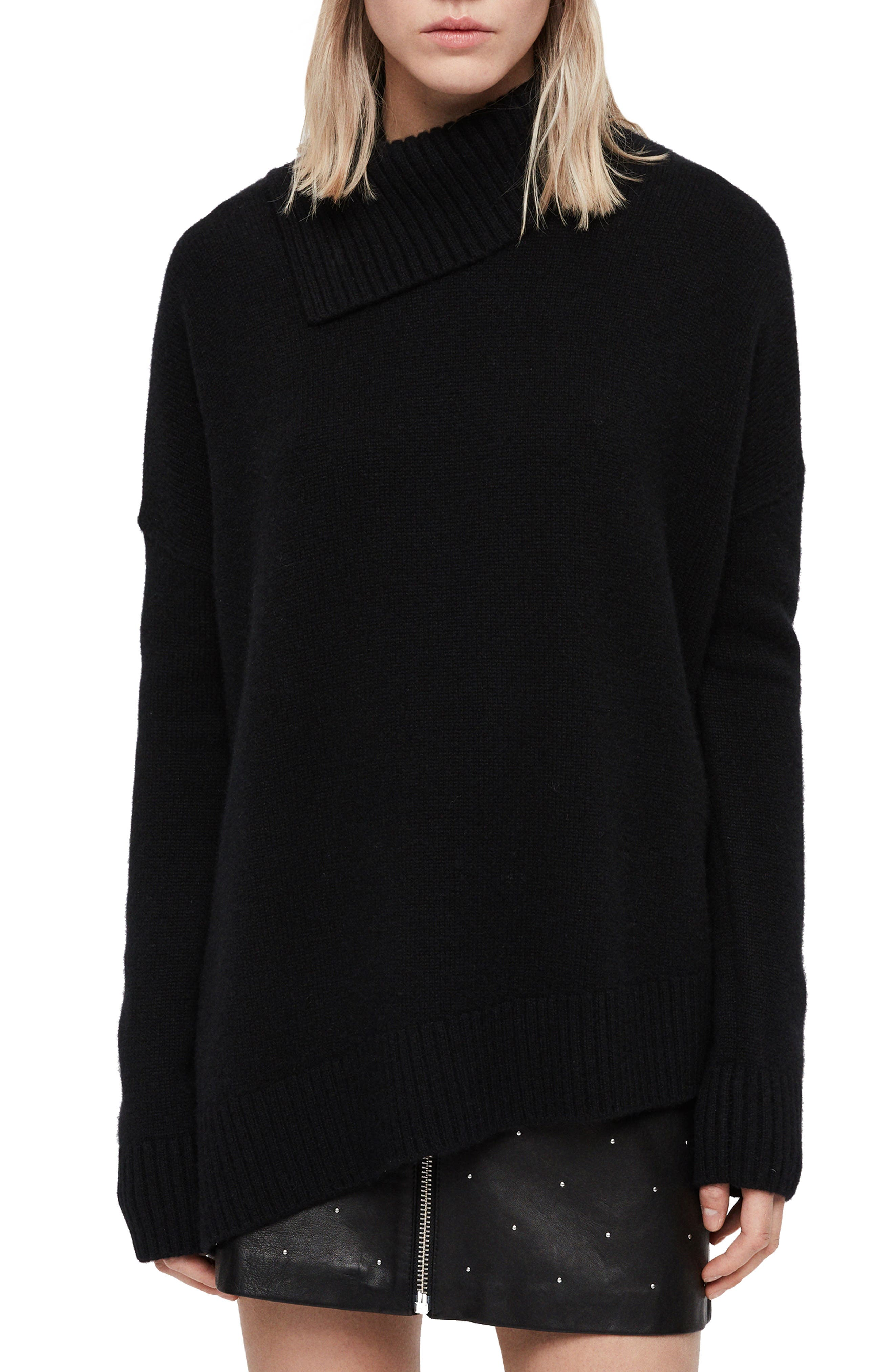 Witby Roll Neck Cashmere Sweater,                             Main thumbnail 1, color,                             BLACK
