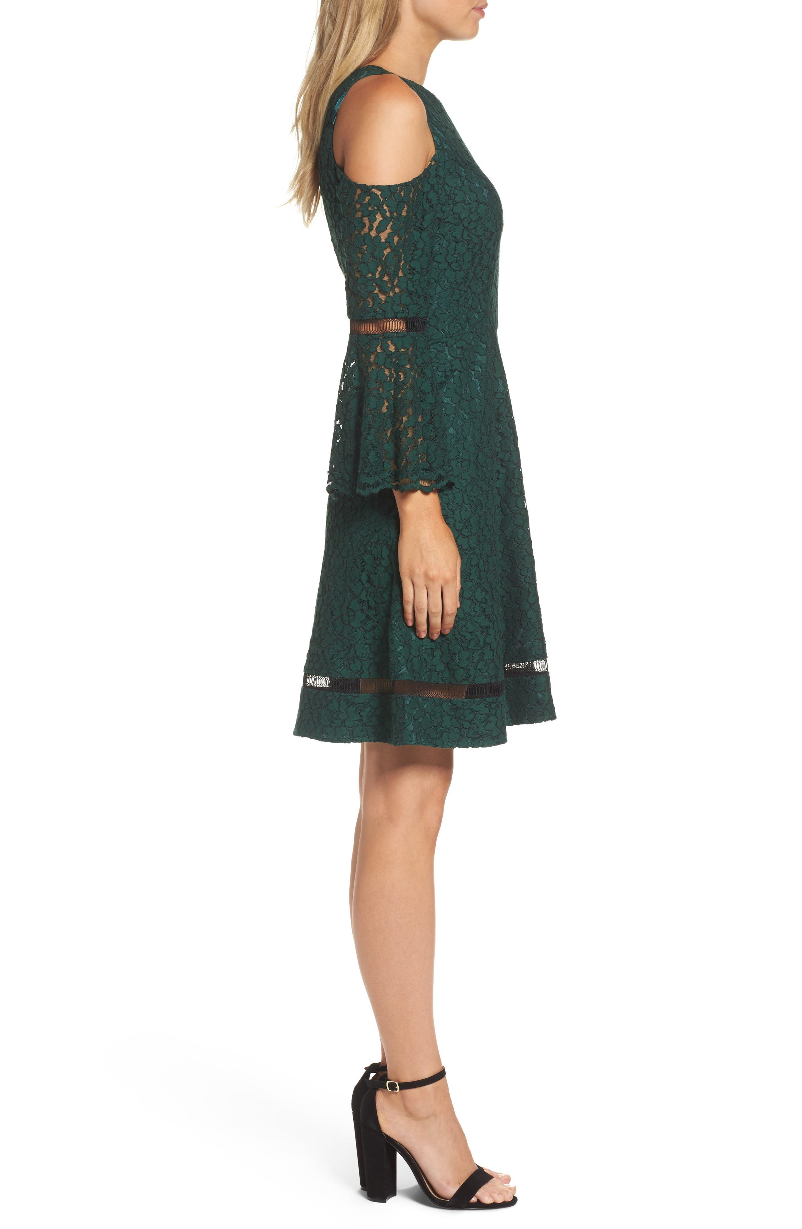 Bell Sleeve Cold Shoulder Fit & Flare Dress,                             Alternate thumbnail 3, color,                             310