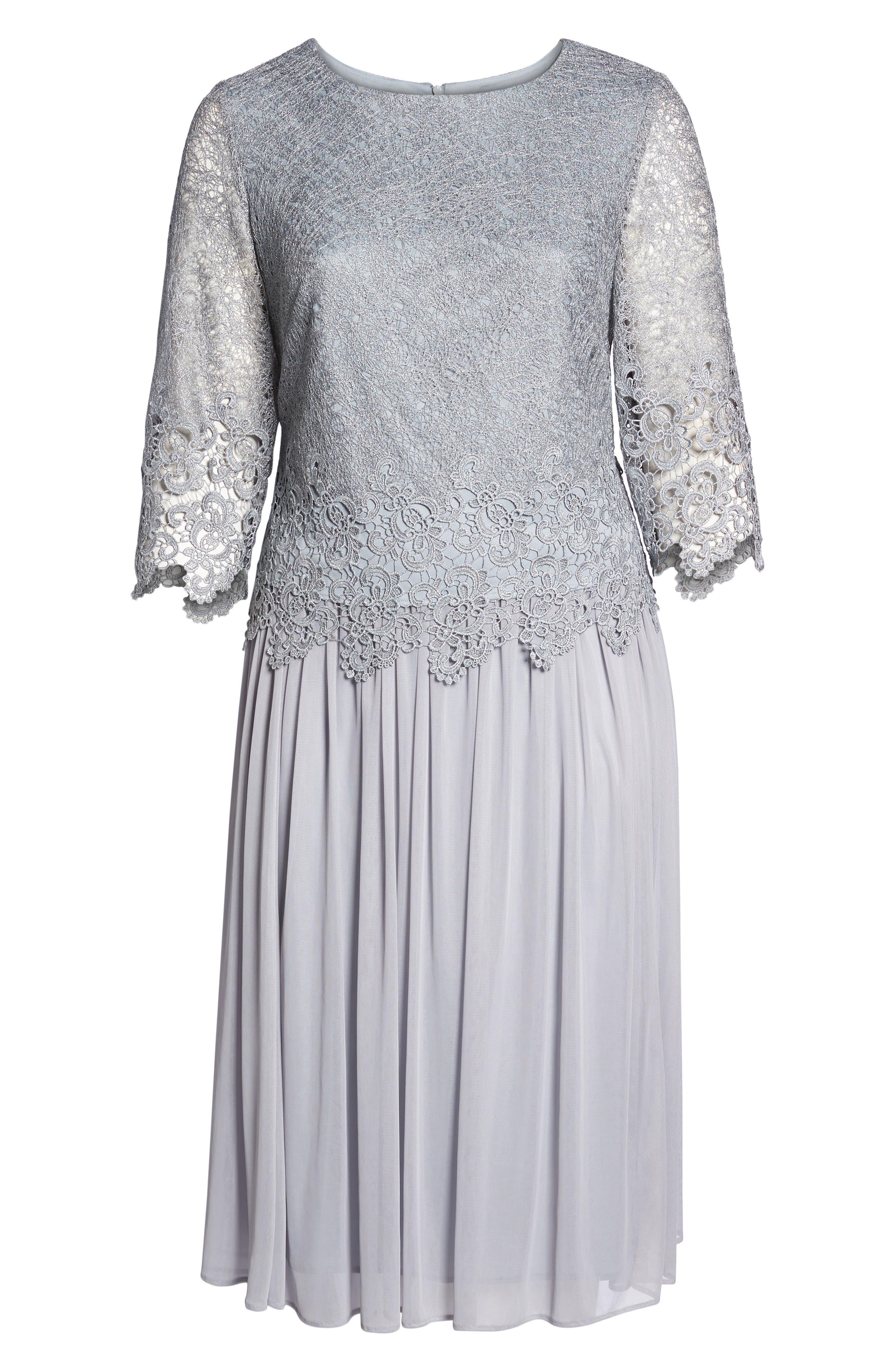 Lace & Chiffon Tea Length Dress,                             Alternate thumbnail 6, color,                             SILVER