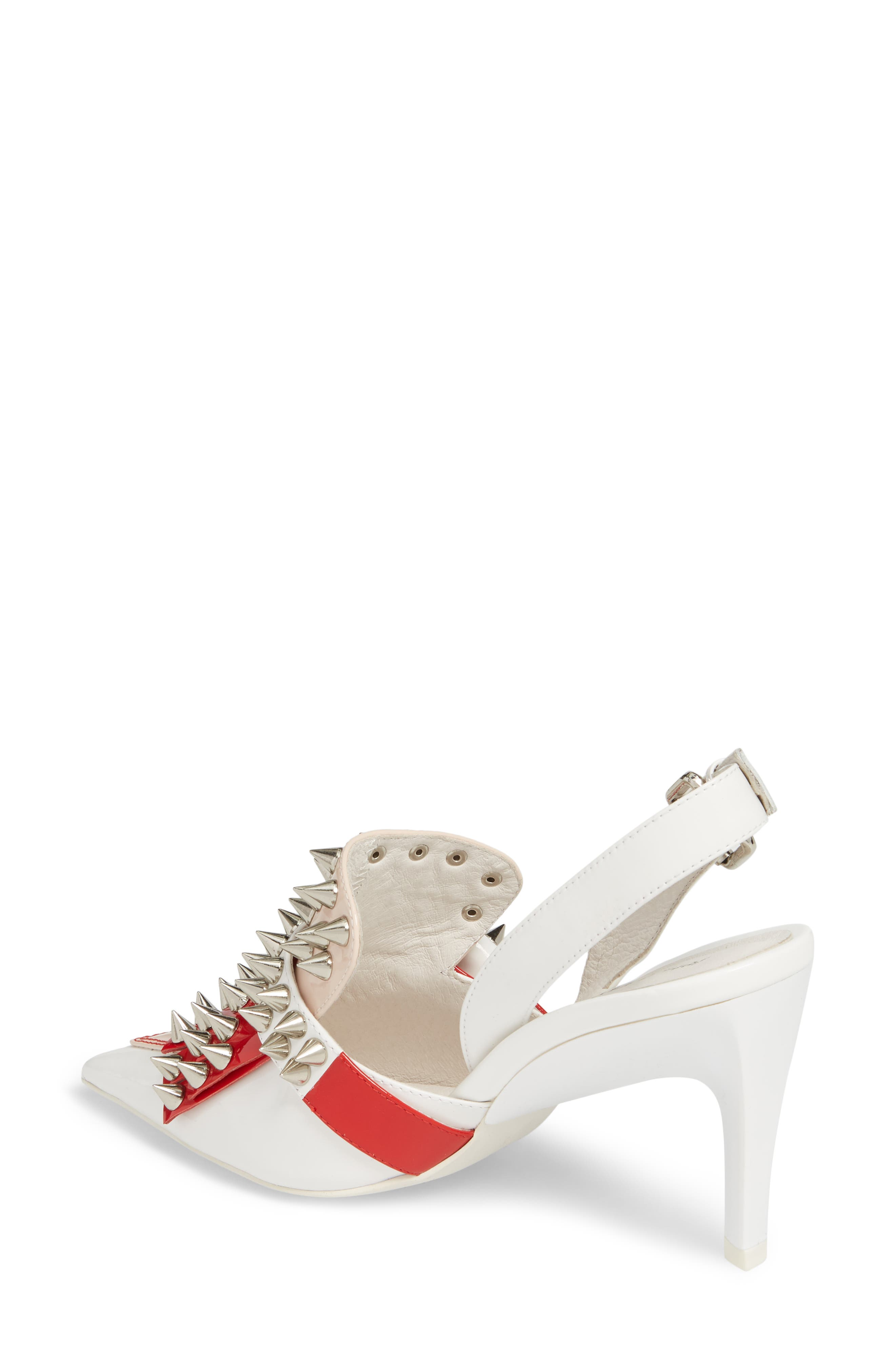 Vicious-2 Studded Loafer Pump,                             Alternate thumbnail 2, color,                             WHITE/ RED/ PINK PATENT/ WHITE