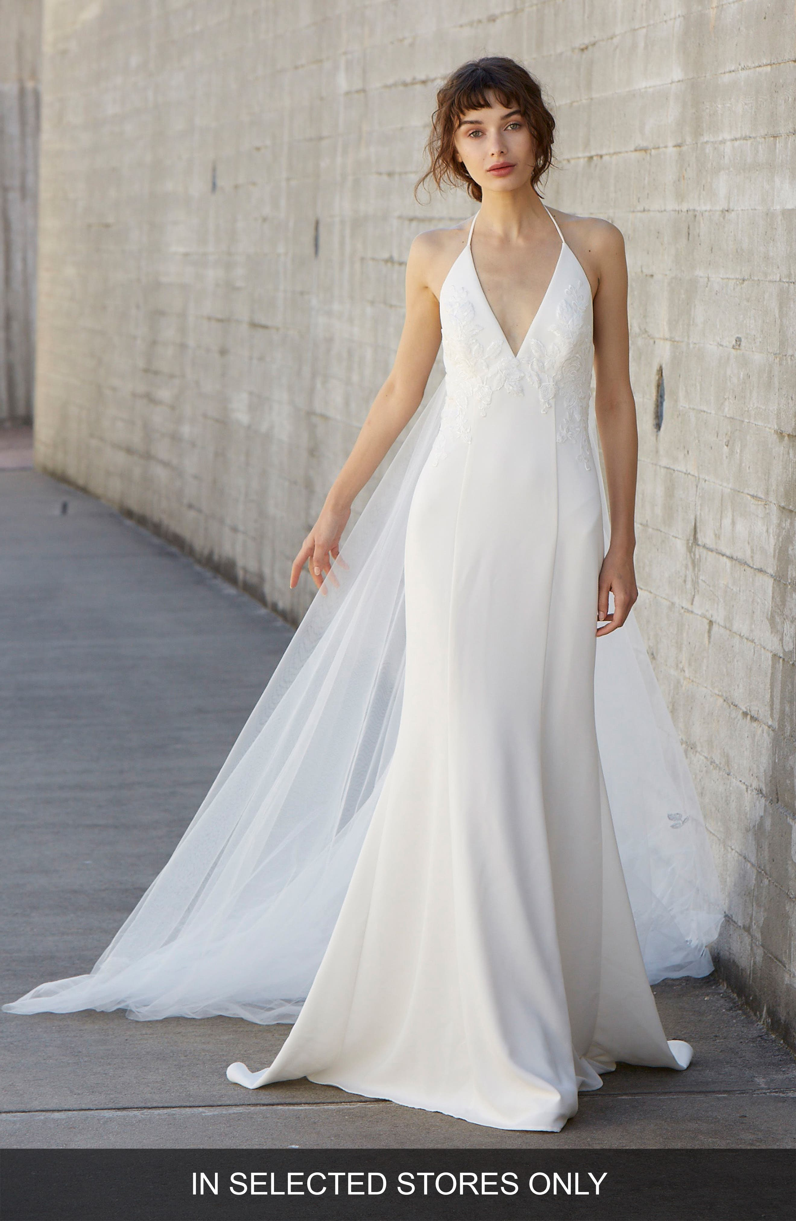 Olivia Embroidered Halter Neck Gown,                         Main,                         color, IVORY