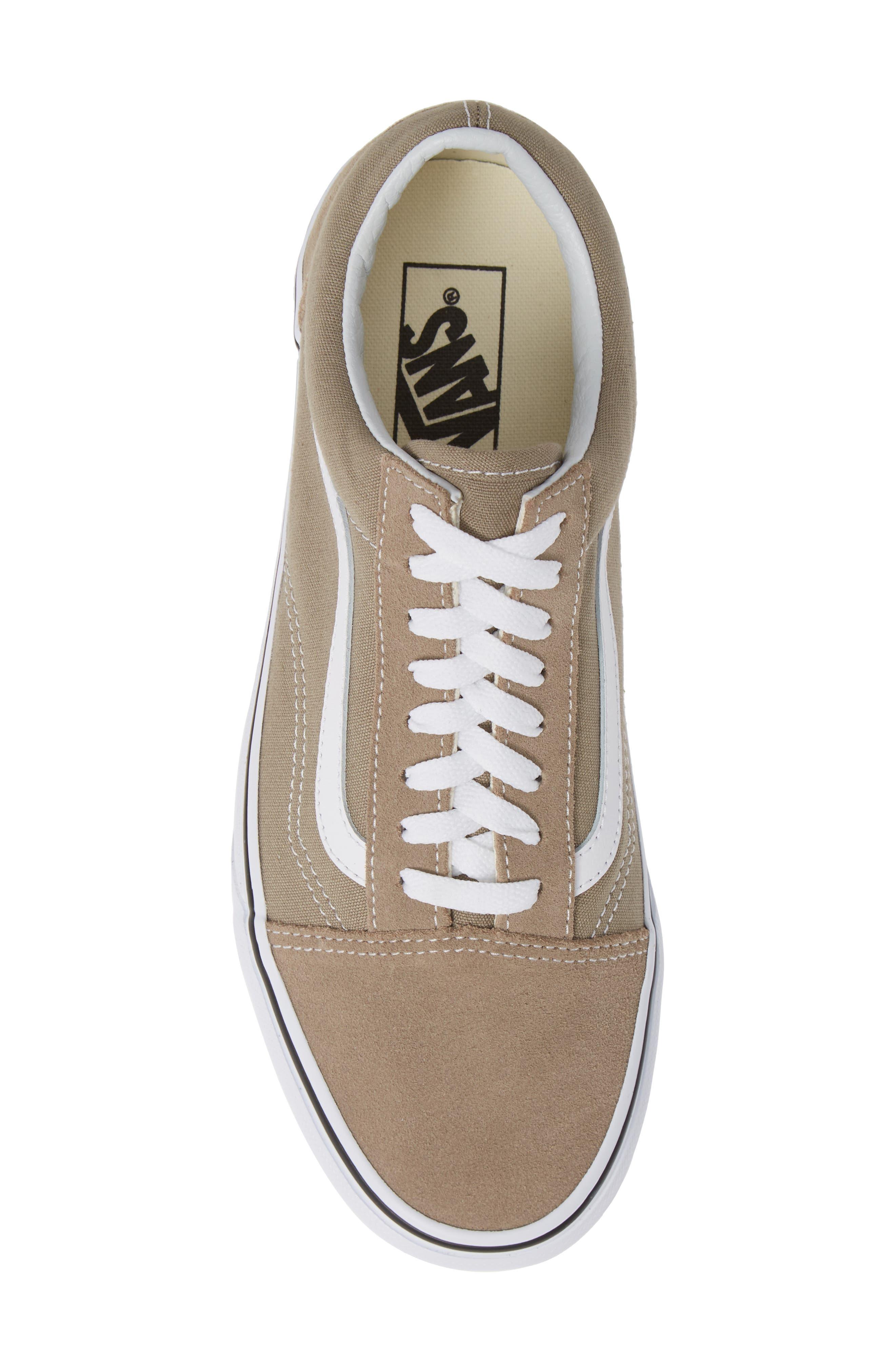 'Old Skool' Sneaker,                             Alternate thumbnail 5, color,                             DESERT TAUPE/ WHITE CANVAS