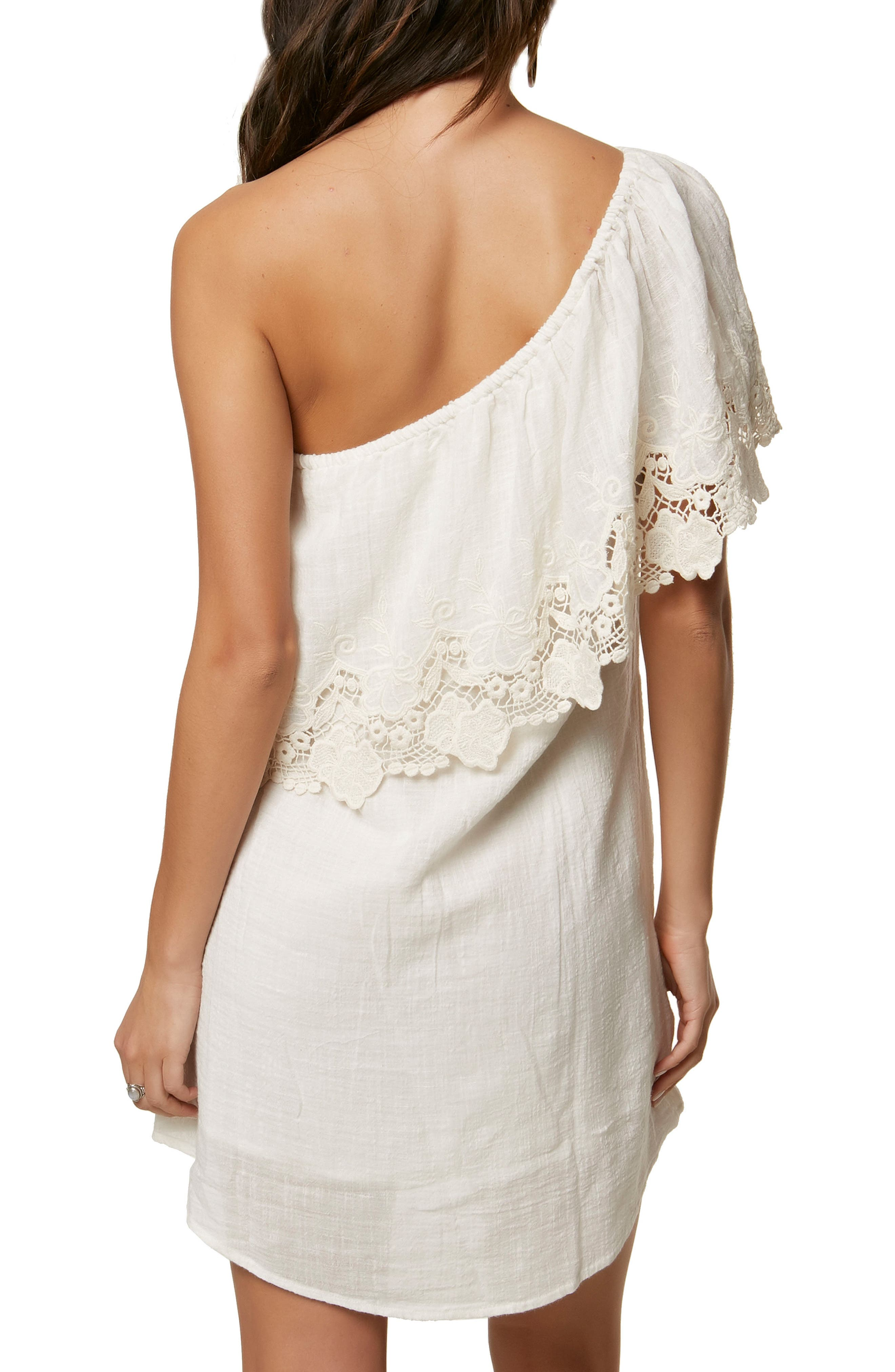 Eryn One-Shoulder Dress,                             Alternate thumbnail 2, color,                             100