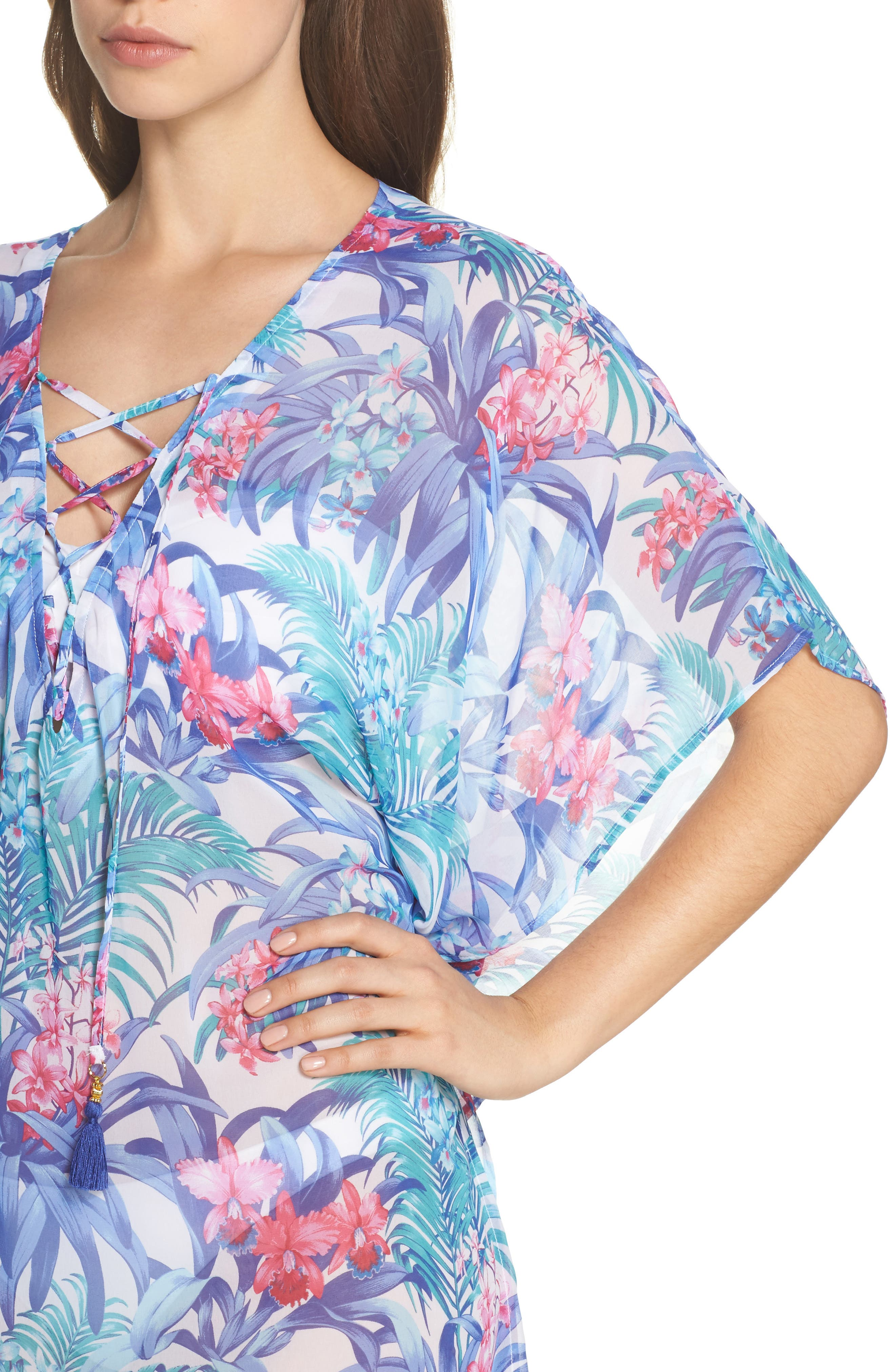 Majorelle Cover-Up Tunic,                             Alternate thumbnail 4, color,                             100