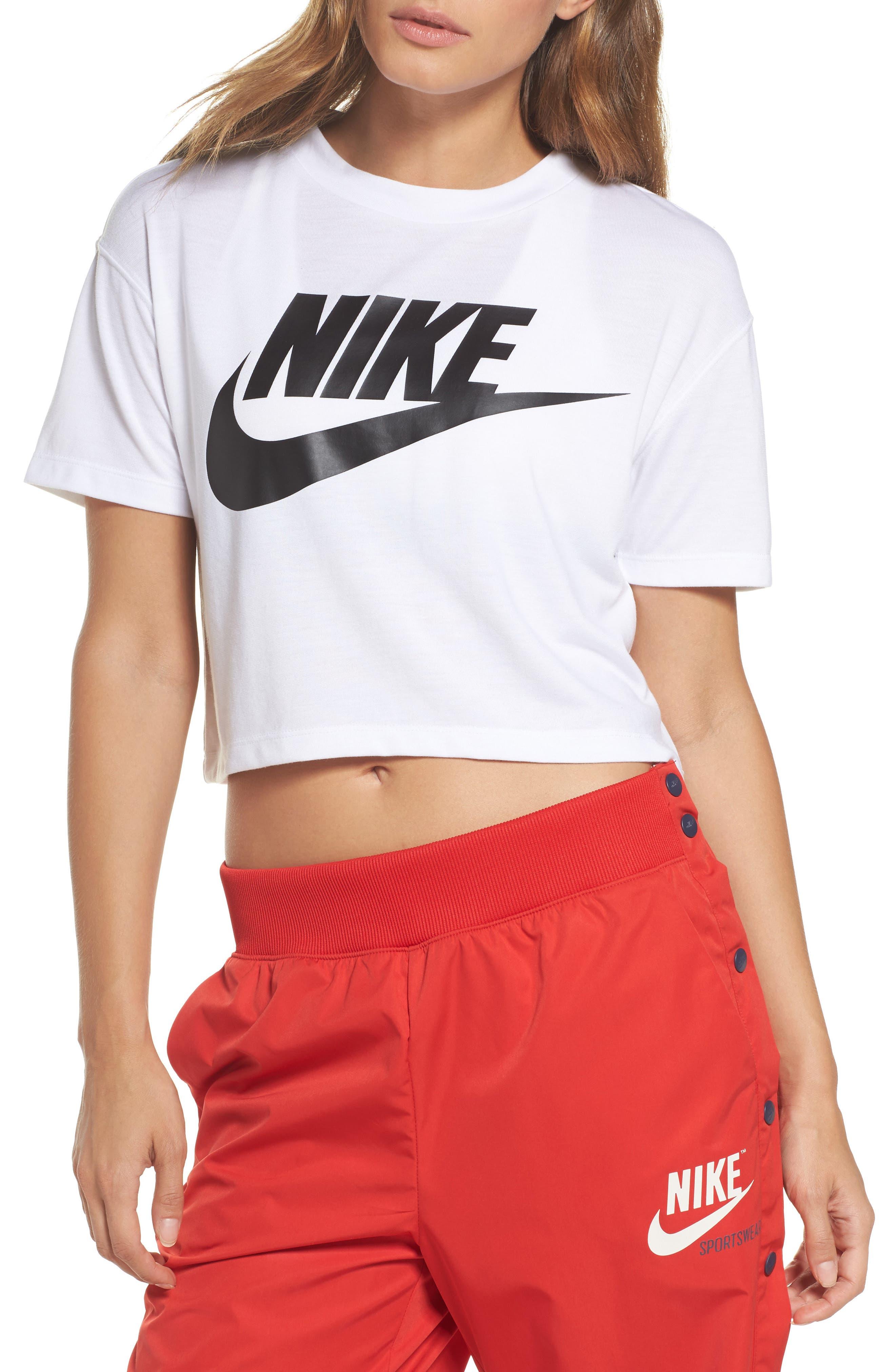 Sportswear Crop Top,                         Main,                         color, WHITE/ BLACK