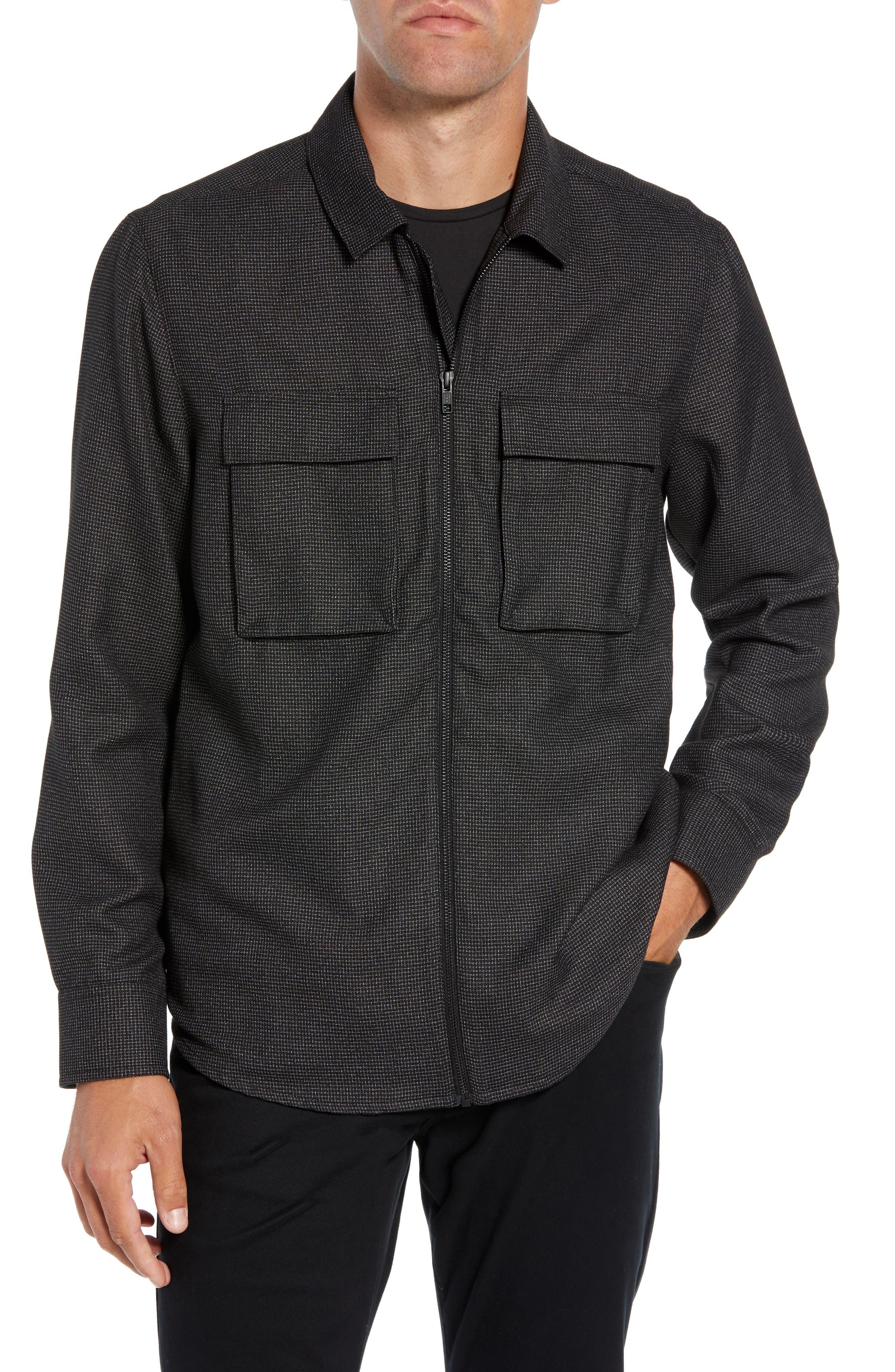Grid Zip Shirt Jacket,                         Main,                         color, BLACK WHITE GRID