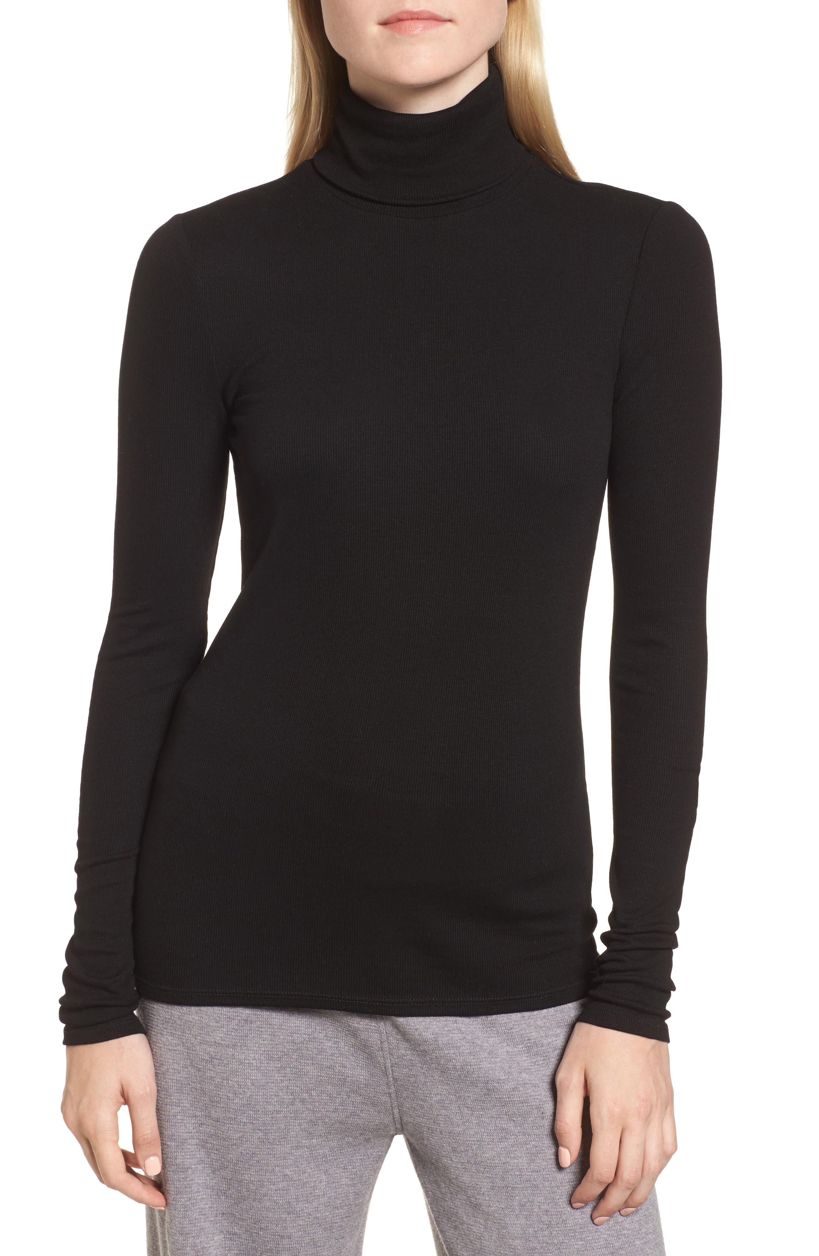 Ribbed Stretch Turtleneck,                             Main thumbnail 1, color,                             001