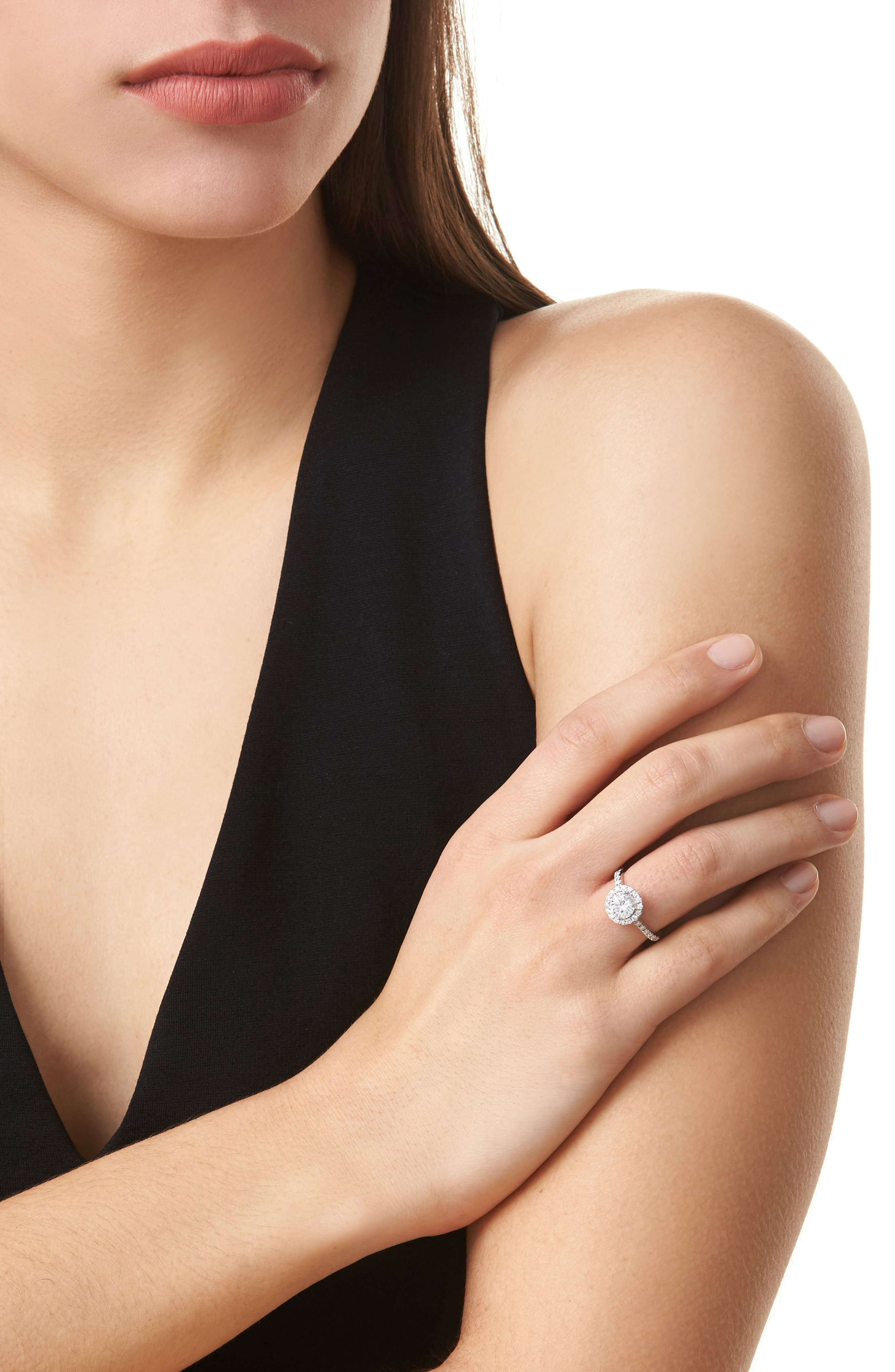 Pavé Diamond Leaf Engagement Ring Setting,                             Alternate thumbnail 2, color,                             WHITE GOLD