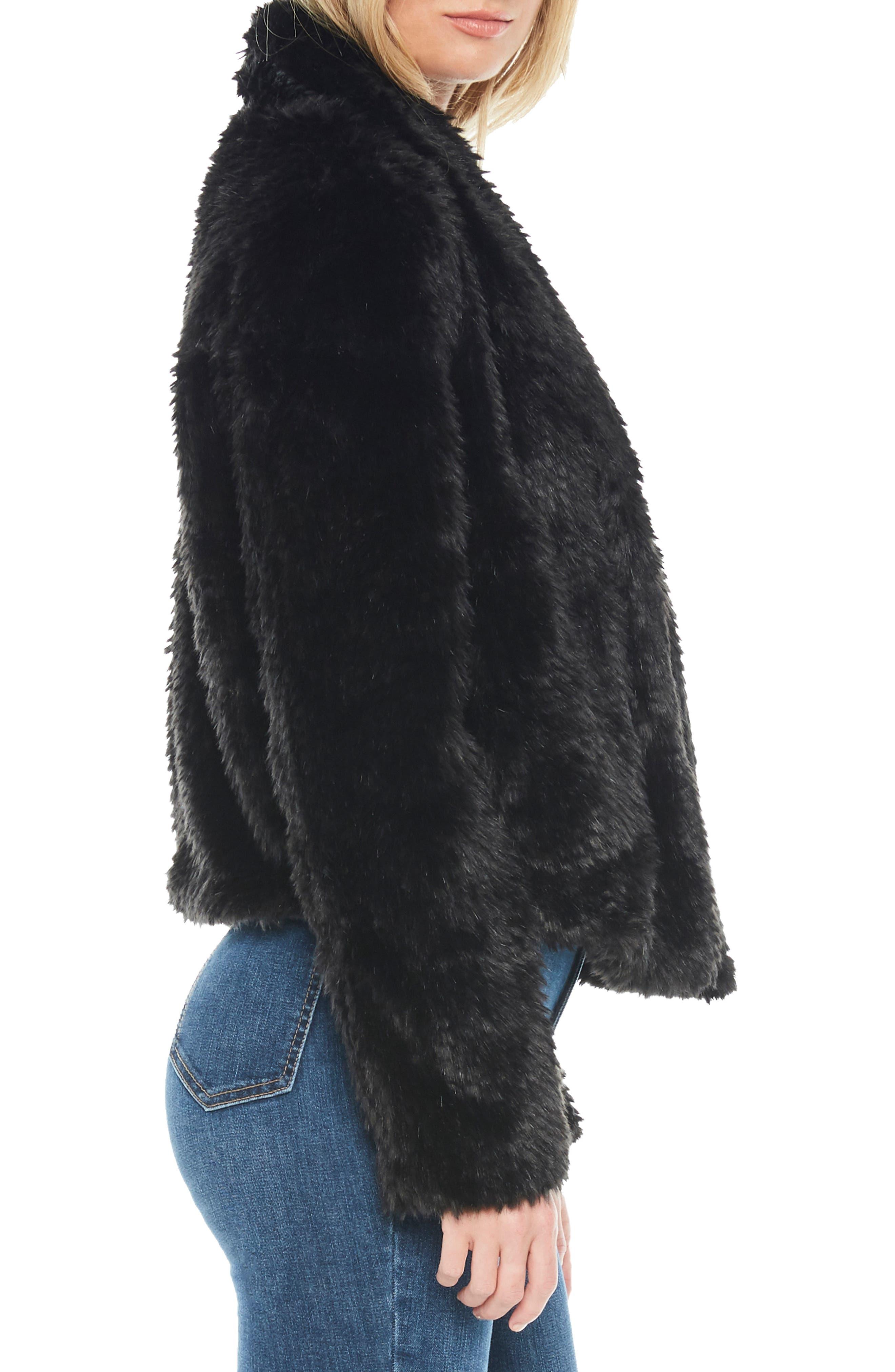 Crop Faux Fur Jacket,                             Alternate thumbnail 3, color,                             BLACK