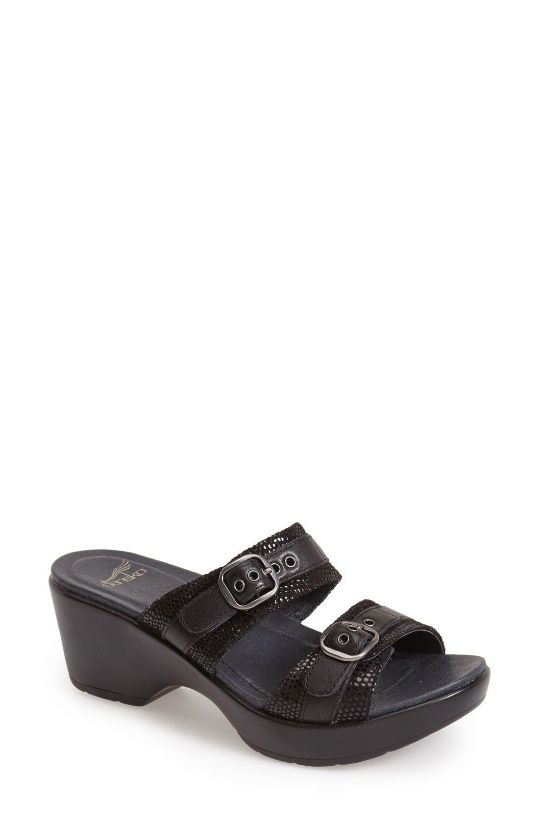 'Jessie' Double Strap Sandal,                             Main thumbnail 1, color,                             001
