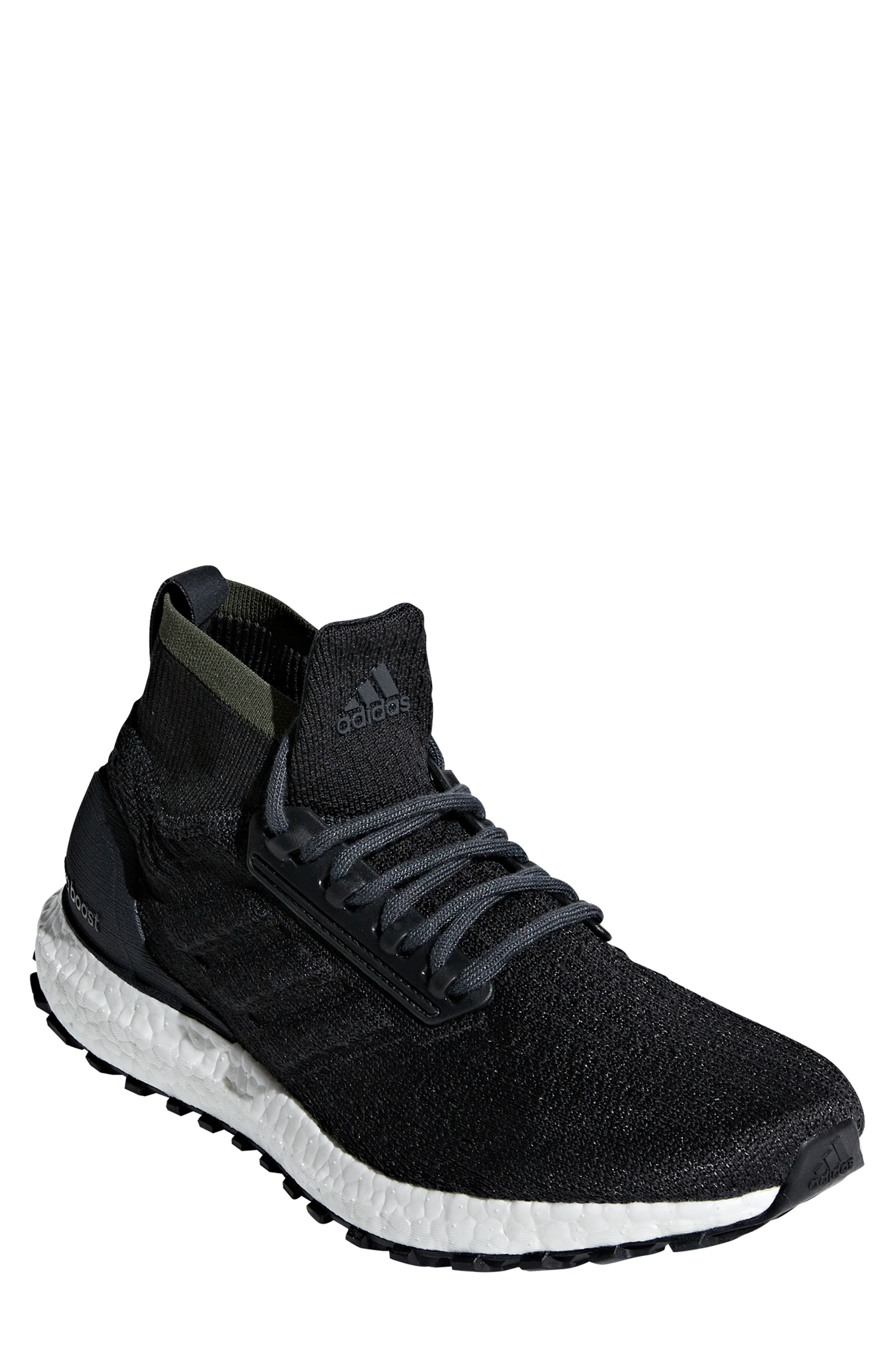 UltraBoost All Terrain Water Resistant Running Shoe,                         Main,                         color, CARBON / CORE BLACK / WHITE