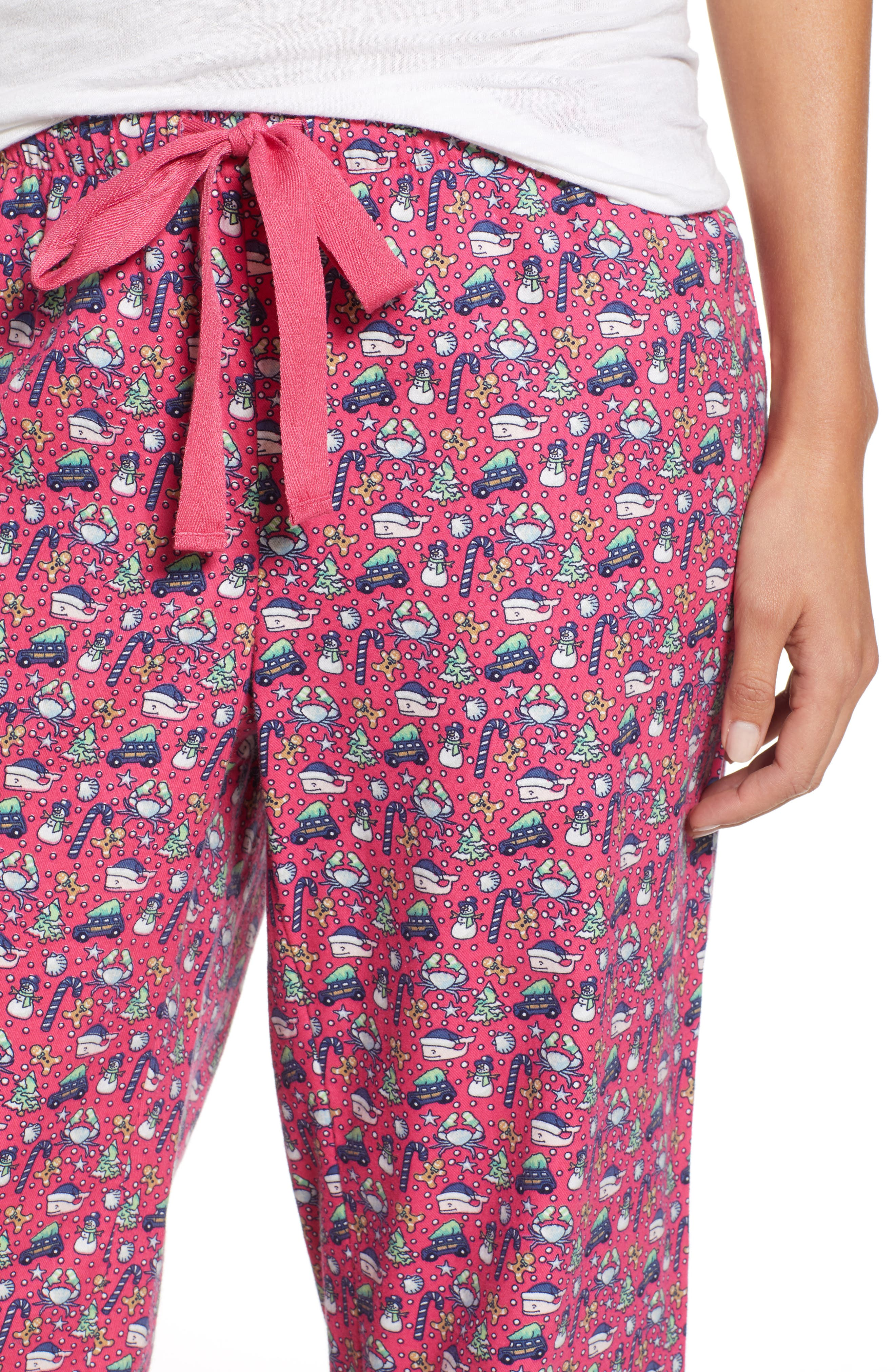 Holiday Print Lounge Pants,                             Alternate thumbnail 4, color,                             GOJI BERRY