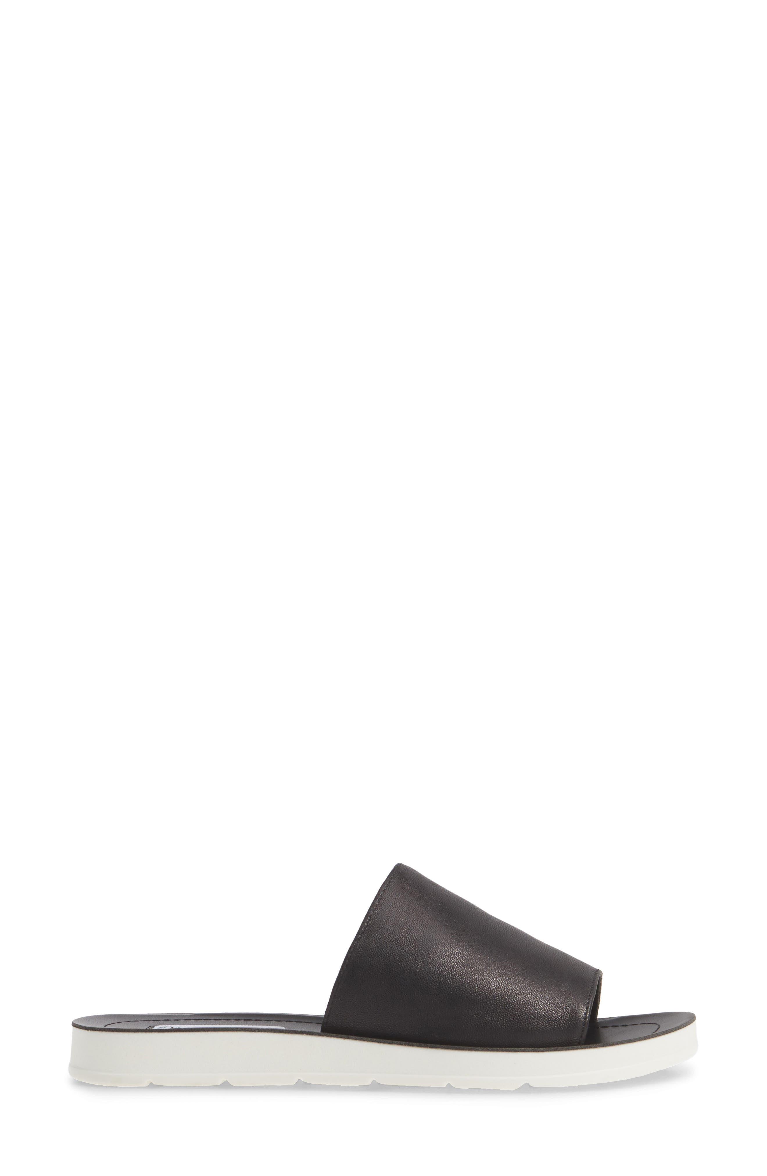 STEVE MADDEN,                             Porter Slide Sandal,                             Alternate thumbnail 3, color,                             BLACK LEATHER